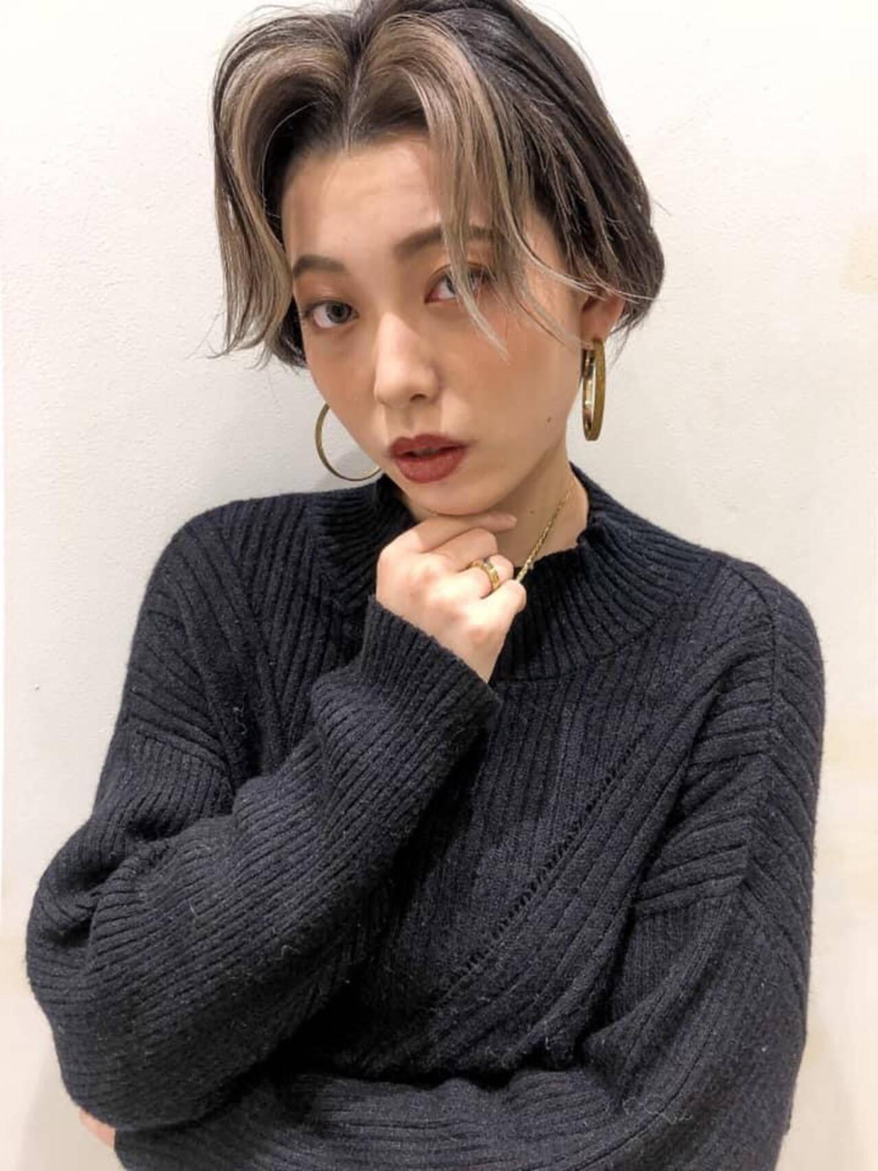 ショート 韓国 ハイライト 韓国風ヘアーヘアスタイルや髪型の写真・画像