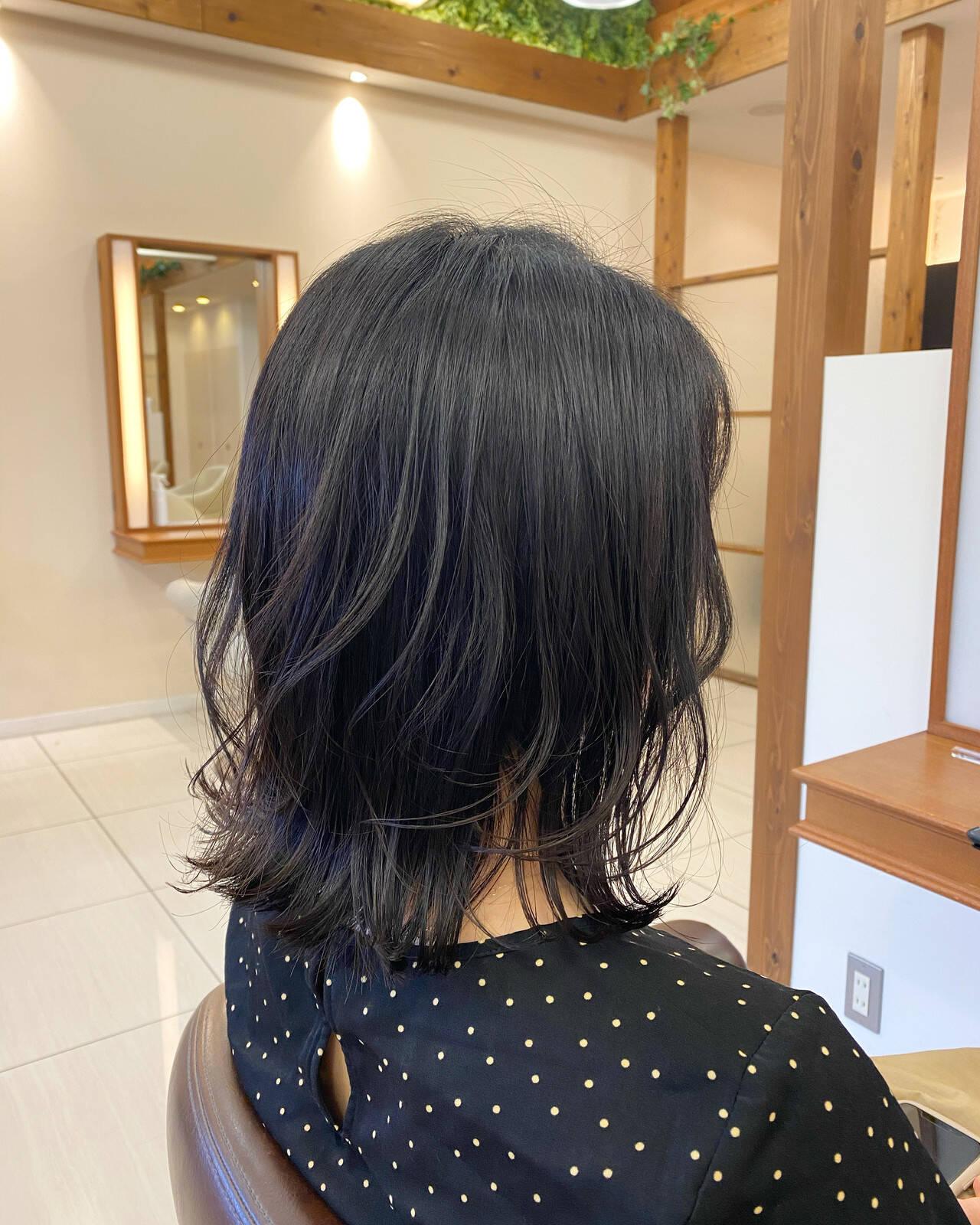 モテボブ 韓国風ヘアー ミディアム ミディアムレイヤーヘアスタイルや髪型の写真・画像
