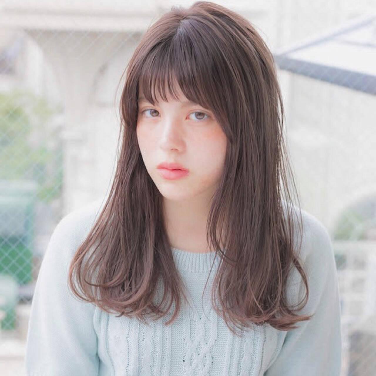 女子力 ゆるふわ セミロング 前髪ありヘアスタイルや髪型の写真・画像