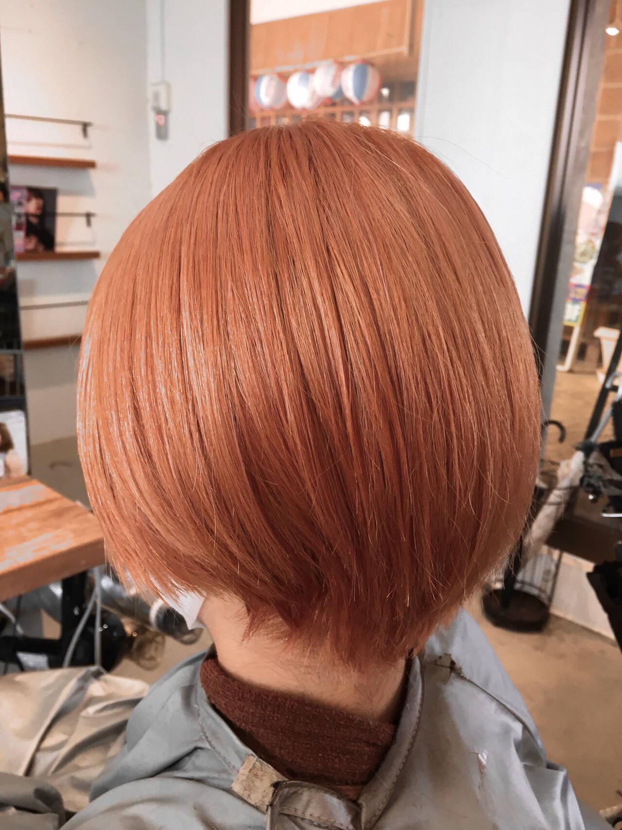 モカベージュ ショート ショートヘア ピンクヘアスタイルや髪型の写真・画像