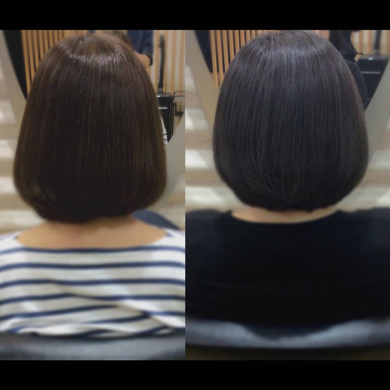 ミニボブ ボブ 髪質改善トリートメント ナチュラルヘアスタイルや髪型の写真・画像