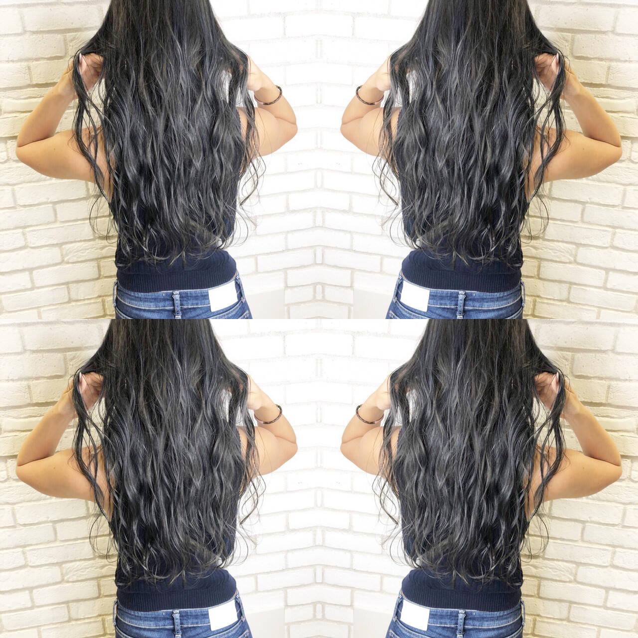 アディクシーカラー ロング ウェーブ 髪質改善ヘアスタイルや髪型の写真・画像