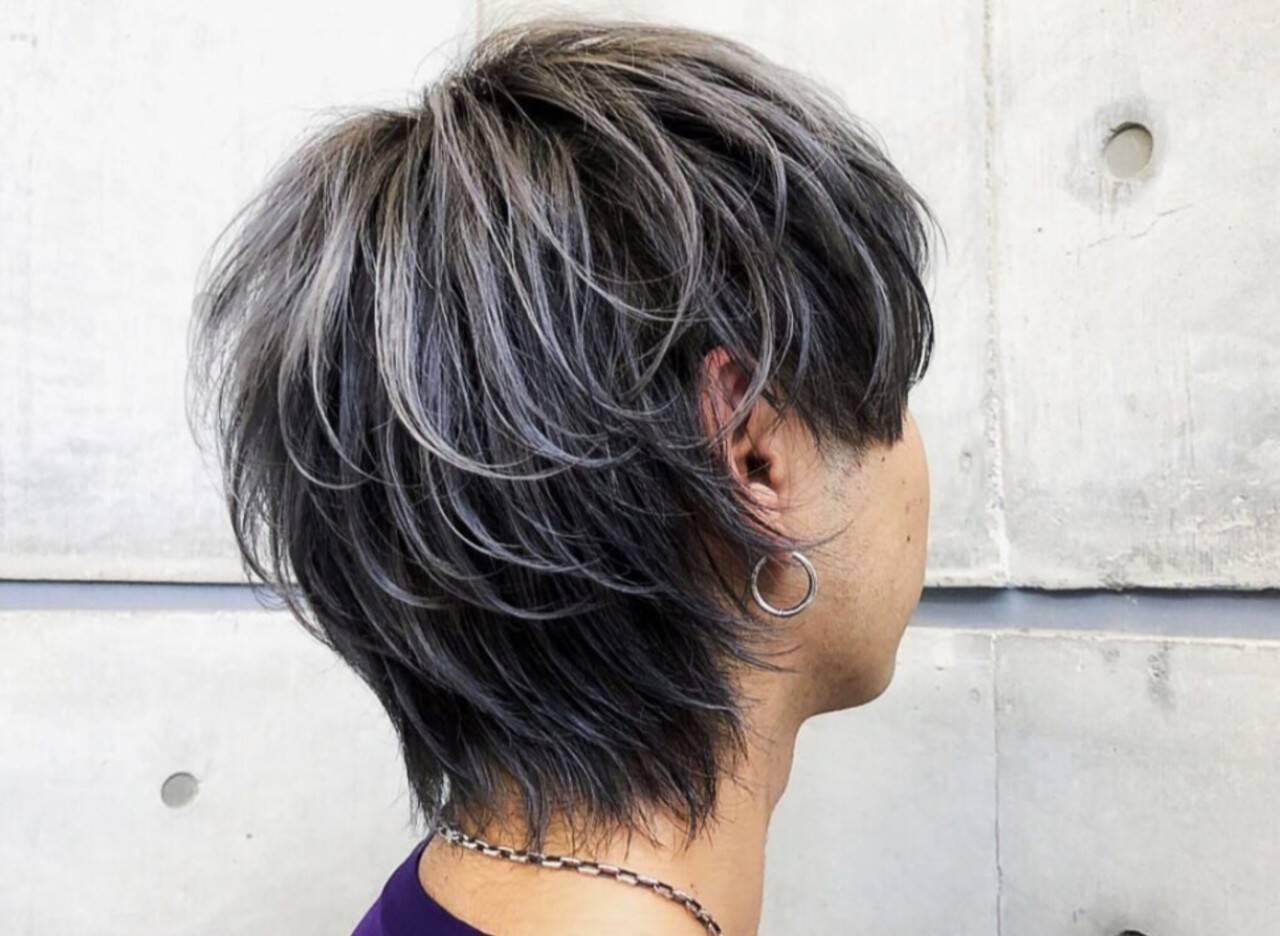 メンズヘア マッシュウルフ ウルフカット メンズショートヘアスタイルや髪型の写真・画像