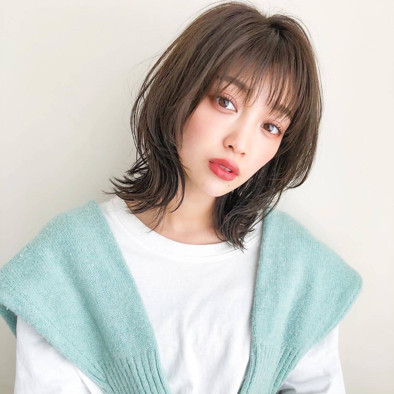 アンニュイほつれヘア 大人可愛い ミディアム デジタルパーマヘアスタイルや髪型の写真・画像