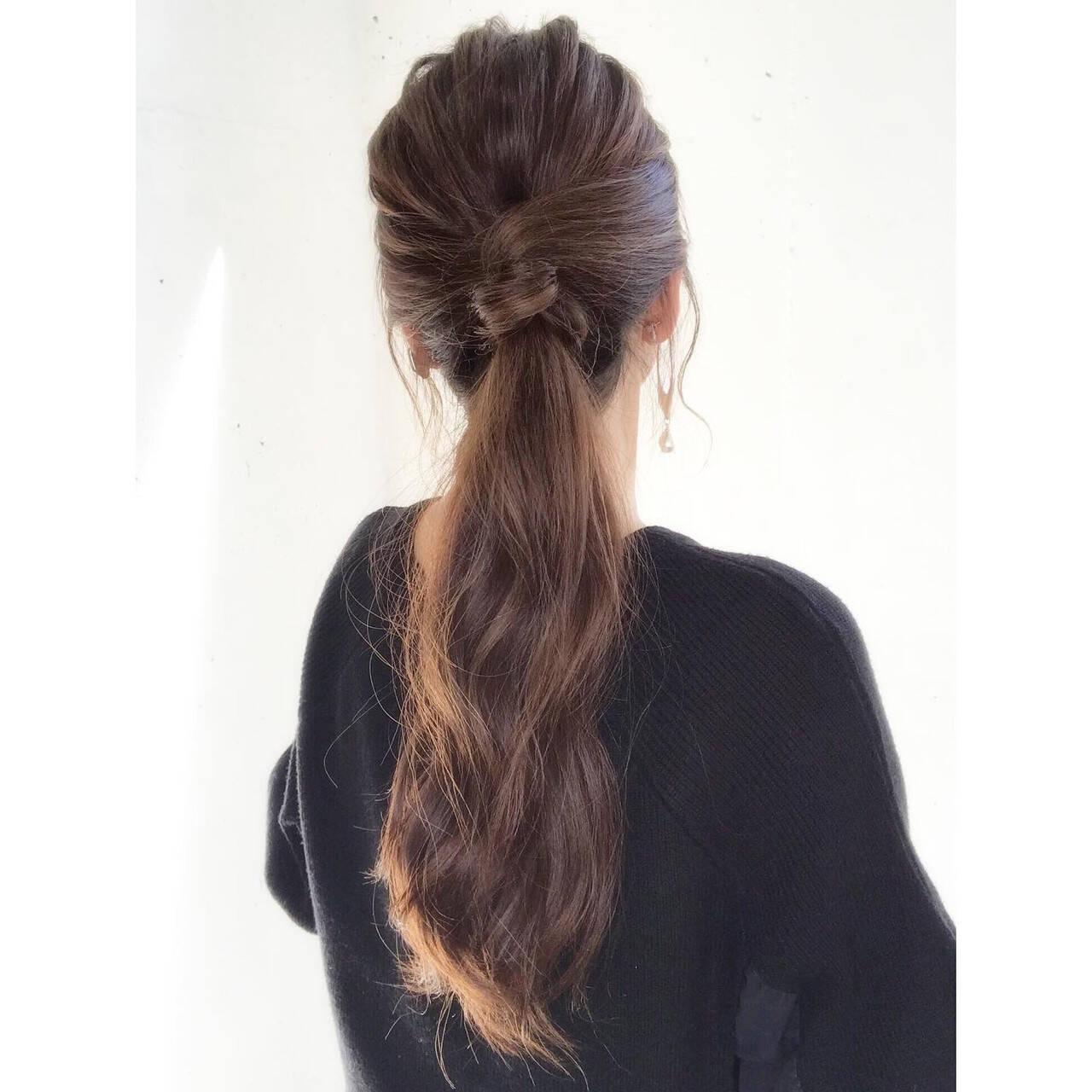 ロング 簡単ヘアアレンジ ポニーテールアレンジ ナチュラルヘアスタイルや髪型の写真・画像