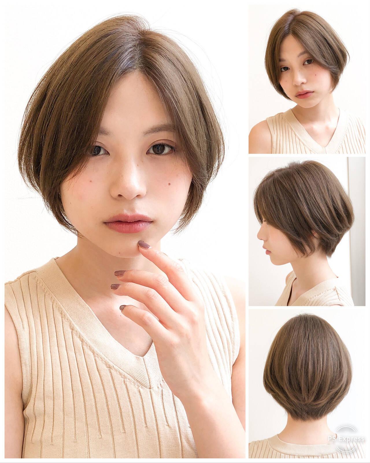 縮毛矯正 ショート ショートボブ ストレートヘアスタイルや髪型の写真・画像