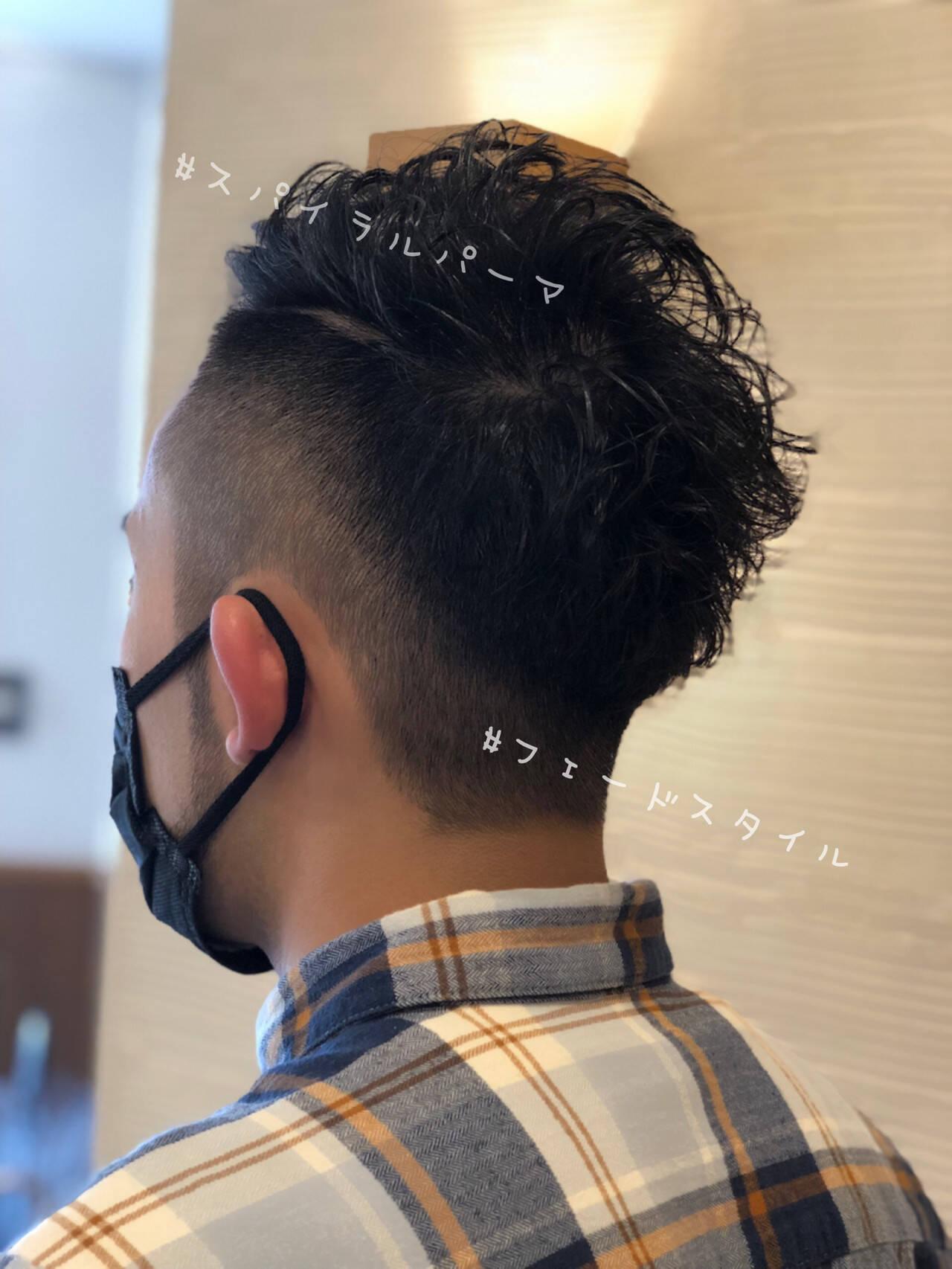 メンズヘア メンズカット スパイラルパーマ フェードカットヘアスタイルや髪型の写真・画像