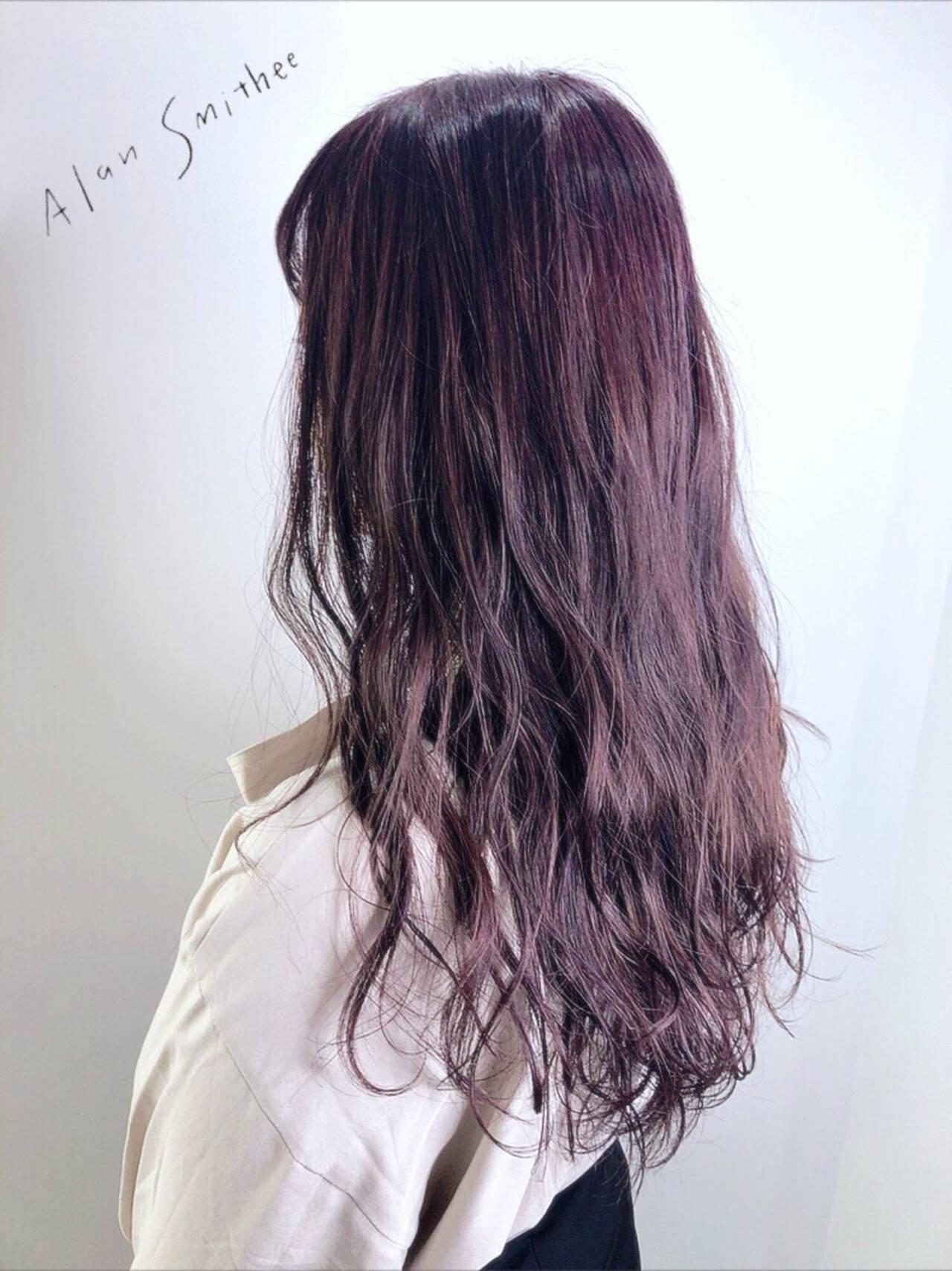 ラベンダーピンク フェミニン ロング ピンクラベンダーヘアスタイルや髪型の写真・画像
