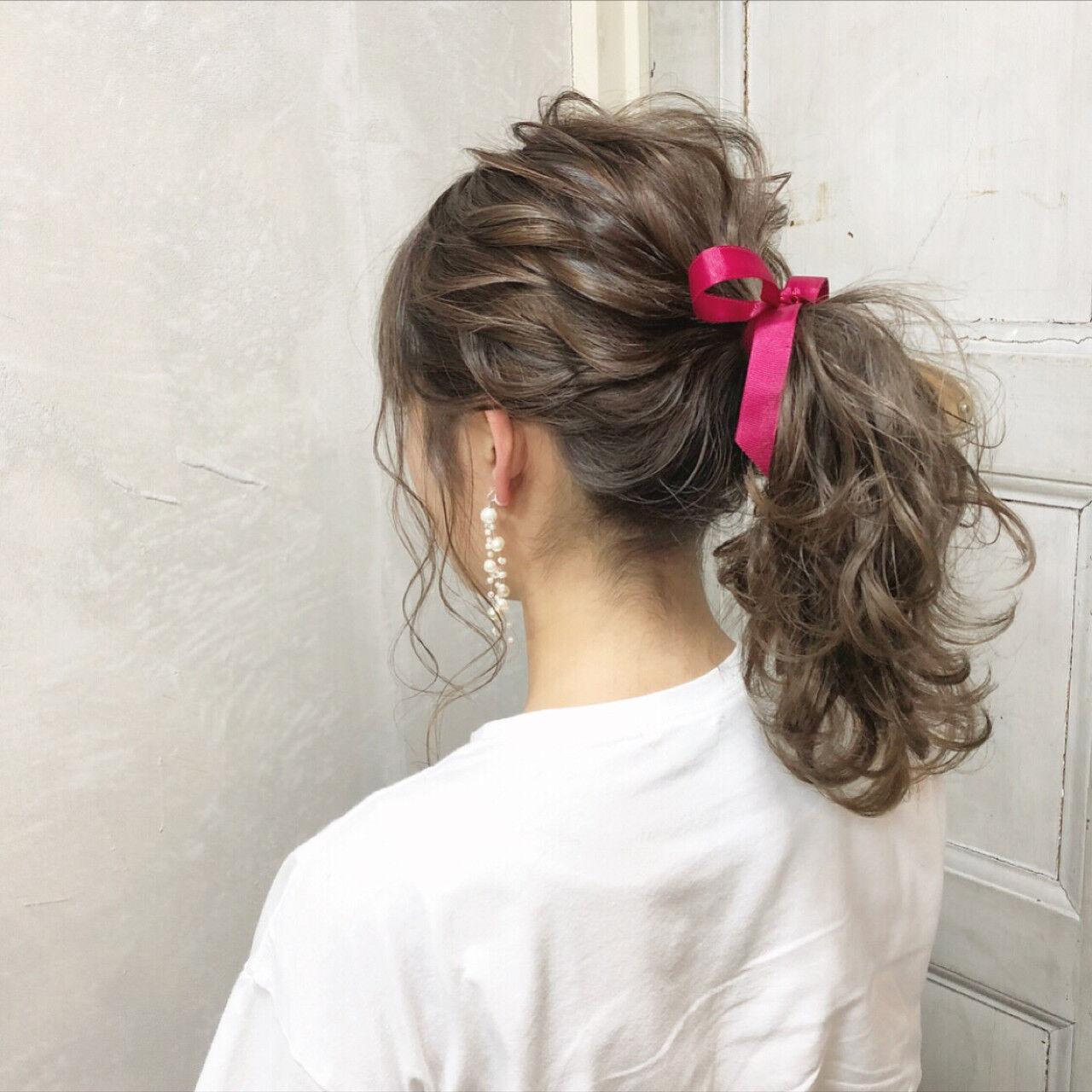 簡単ヘアアレンジ ガーリー ポニーテール 女子力ヘアスタイルや髪型の写真・画像