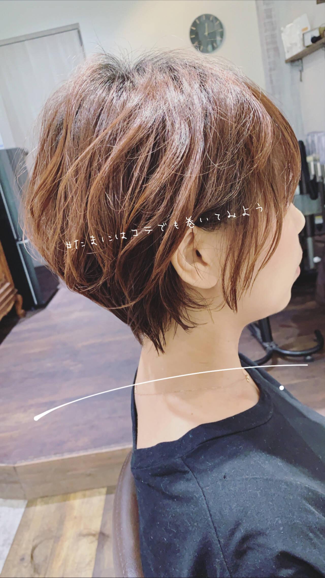大人ショート ショートボブ ショート ナチュラルヘアスタイルや髪型の写真・画像