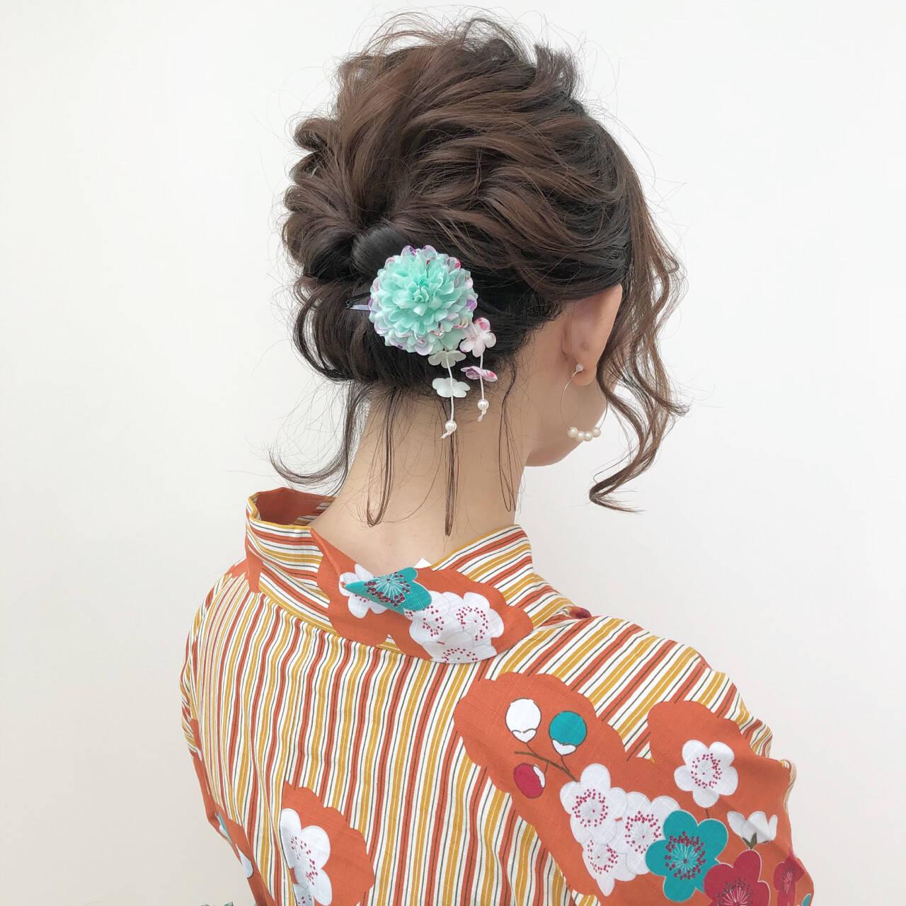 夏 花火大会 ミディアム お祭りヘアスタイルや髪型の写真・画像