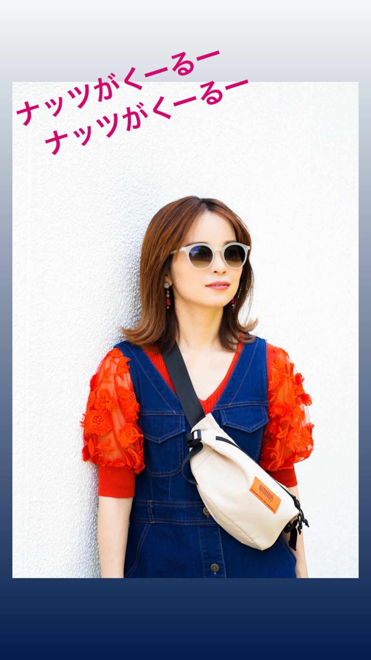 夏 オレンジ 切りっぱなしボブ ストリートヘアスタイルや髪型の写真・画像