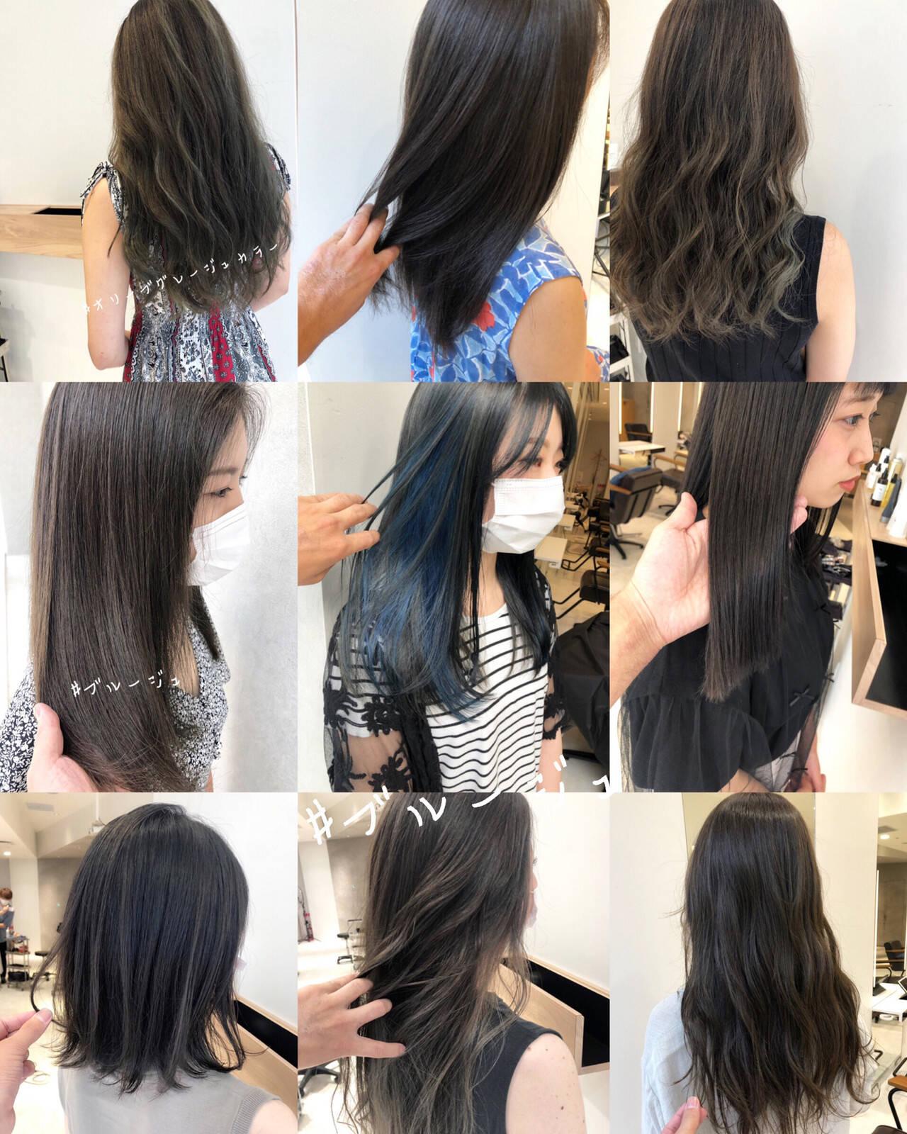 ブルージュ ブルーアッシュ ナチュラル インナーカラーヘアスタイルや髪型の写真・画像