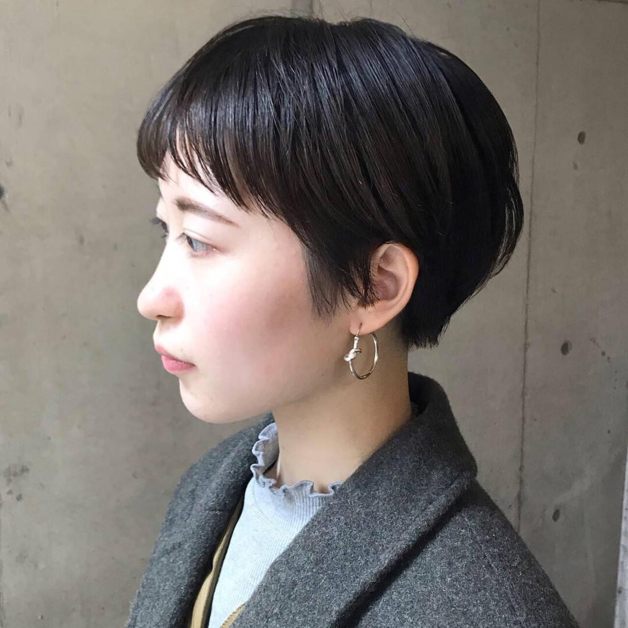 ハンサムショート アンニュイほつれヘア 大人かわいい ショートボブヘアスタイルや髪型の写真・画像