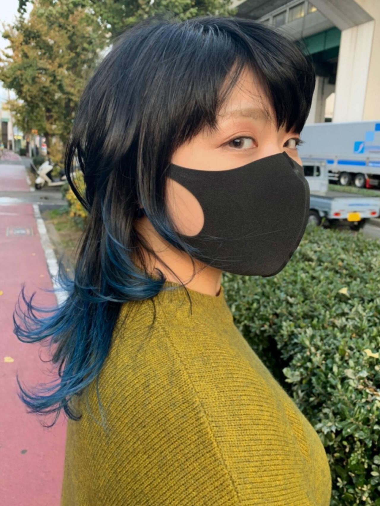 ストリート ブルー ウルフカット グラデーションカラーヘアスタイルや髪型の写真・画像