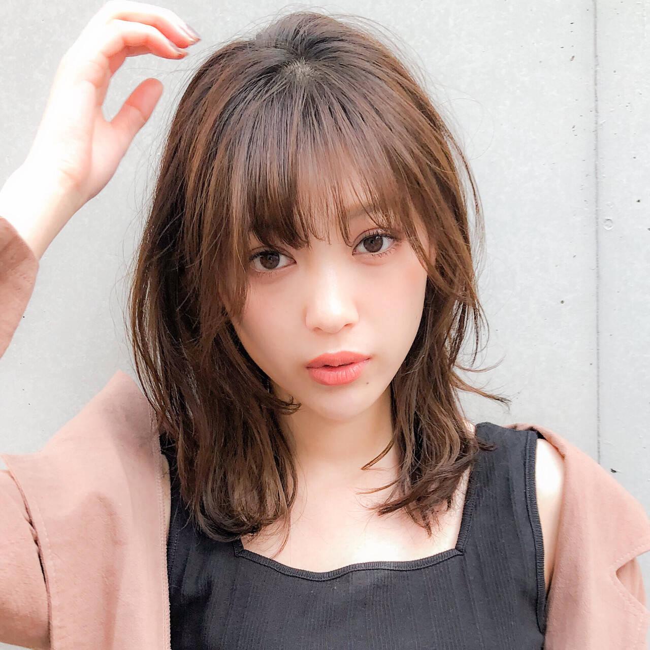 デジタルパーマ ゆるふわパーマ デート セミロングヘアスタイルや髪型の写真・画像
