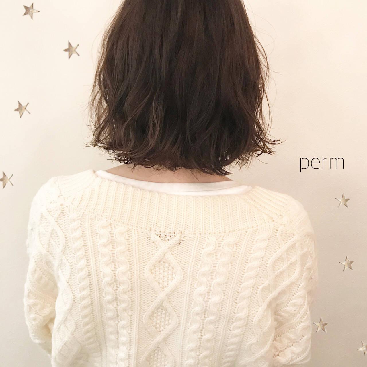 ウェーブ こなれ感 パーマ ミディアムヘアスタイルや髪型の写真・画像