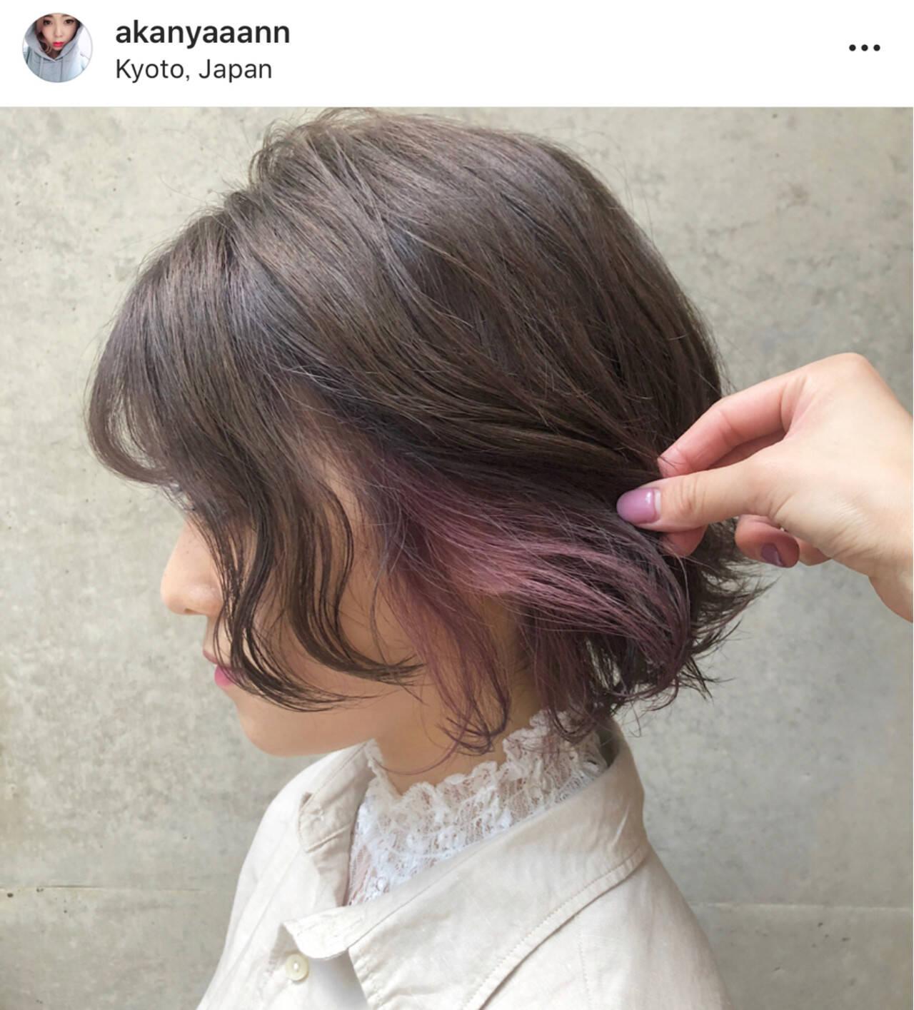 パープル ピンク ボブ 外国人風カラーヘアスタイルや髪型の写真・画像