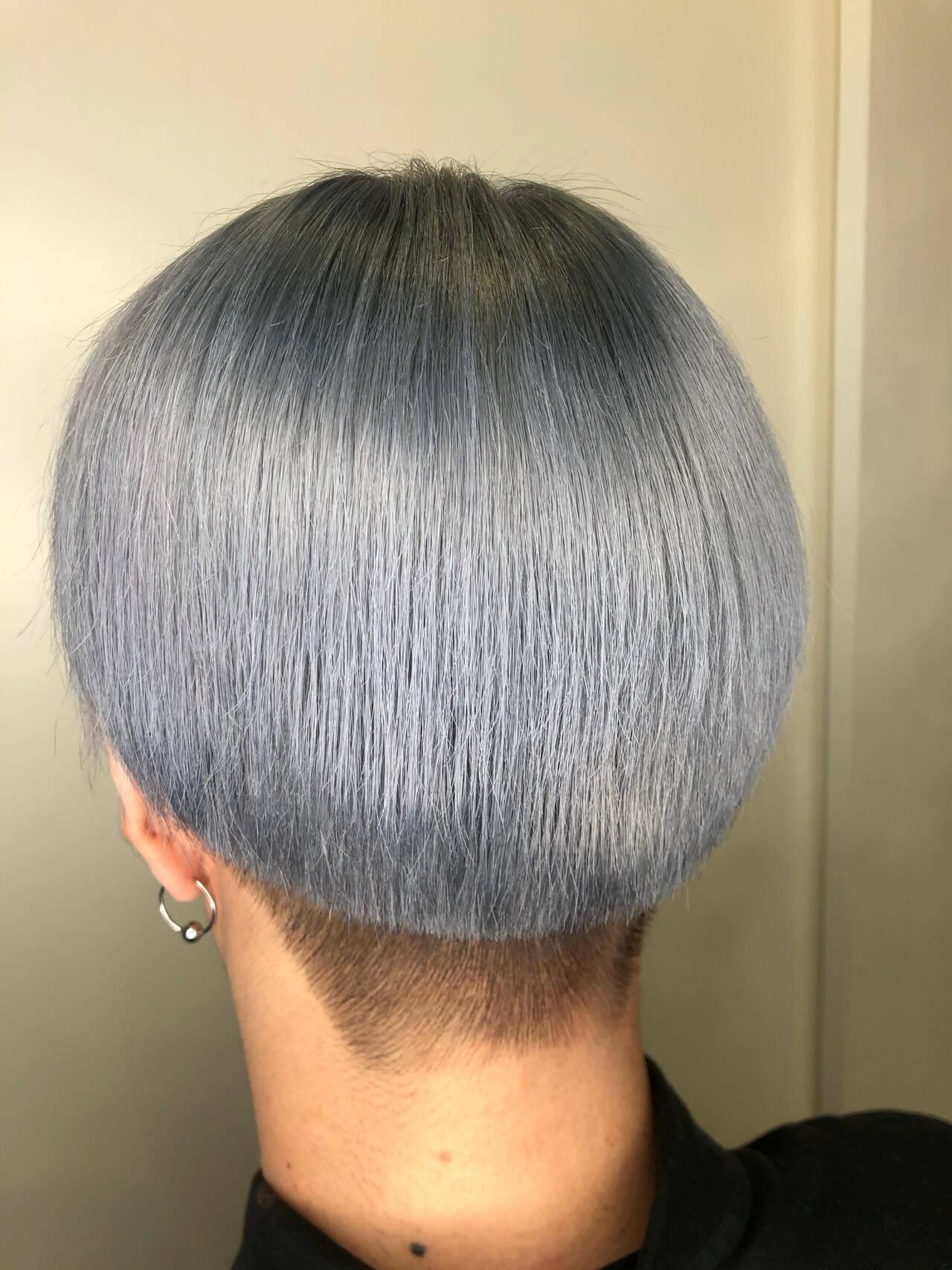グレー ショート アッシュグレー 外国人風カラーヘアスタイルや髪型の写真・画像