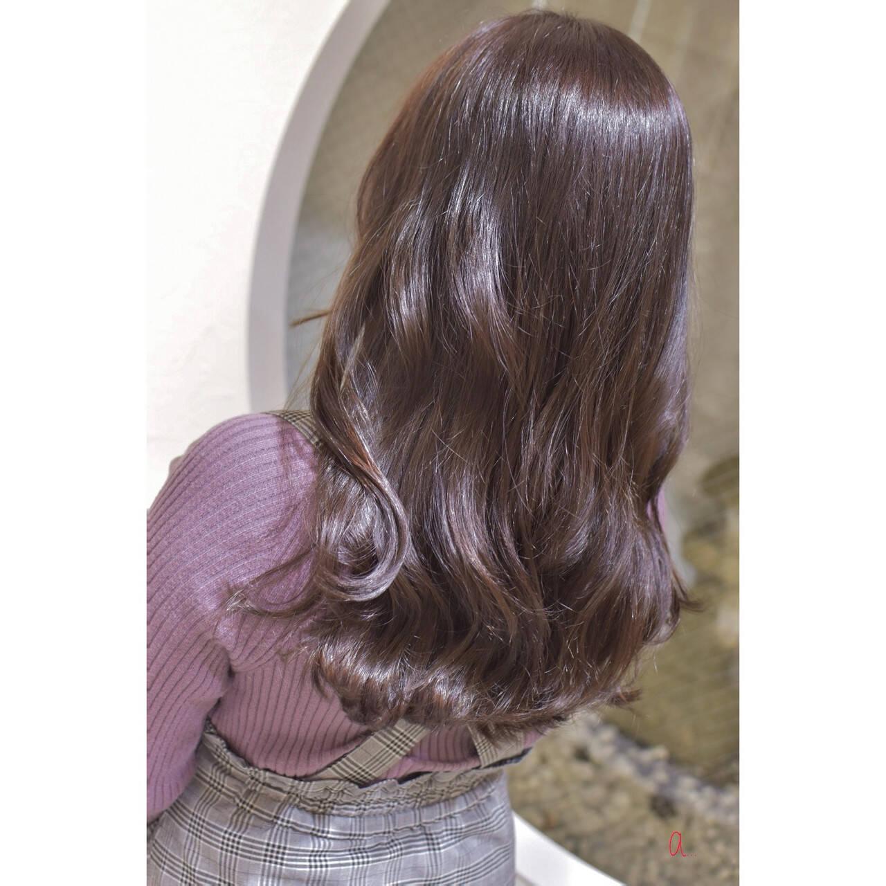 ラベンダーカラー エレガント 暗髪バイオレット ラベンダーピンクヘアスタイルや髪型の写真・画像