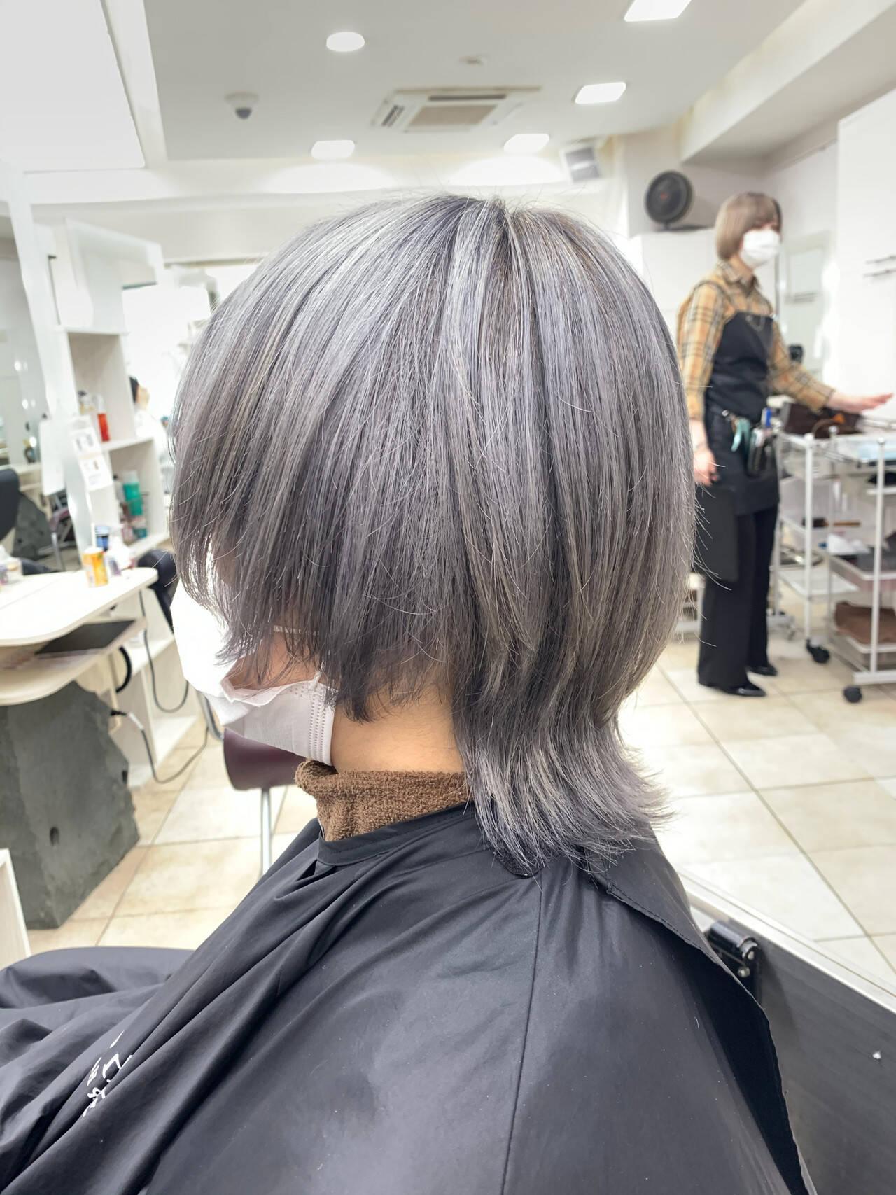 ハイトーンカラー ストリート ウルフカット ショートヘアスタイルや髪型の写真・画像