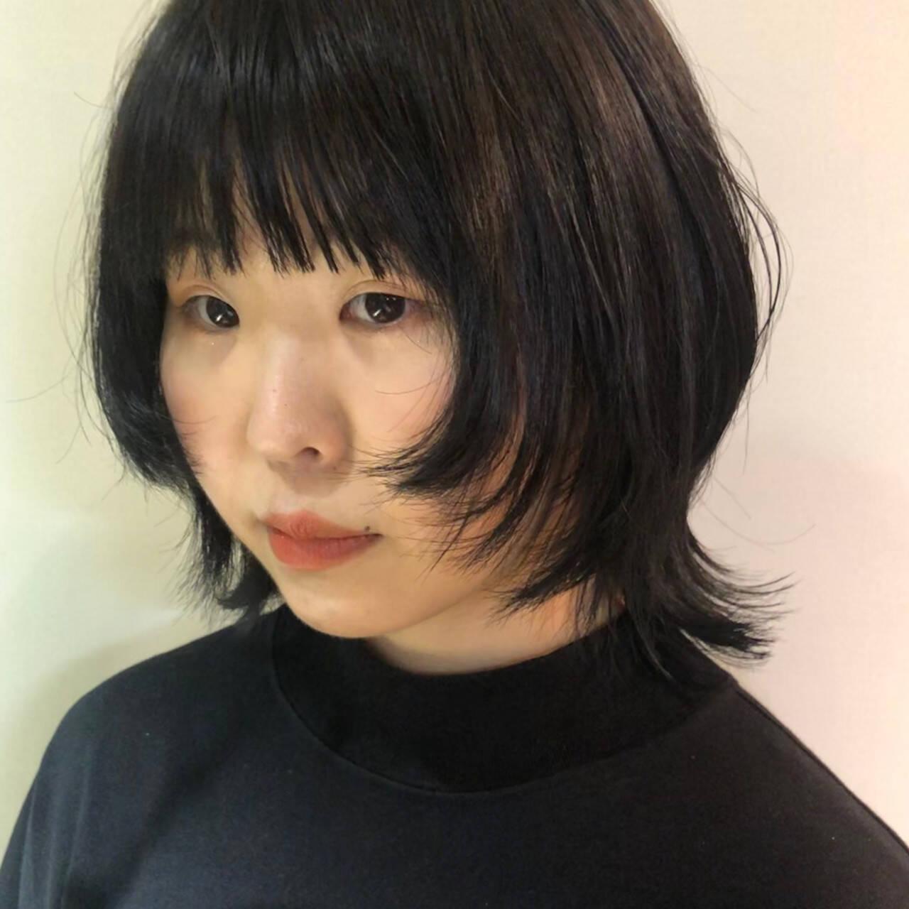 ウルフ ウルフ女子 ショート ブルーアッシュヘアスタイルや髪型の写真・画像