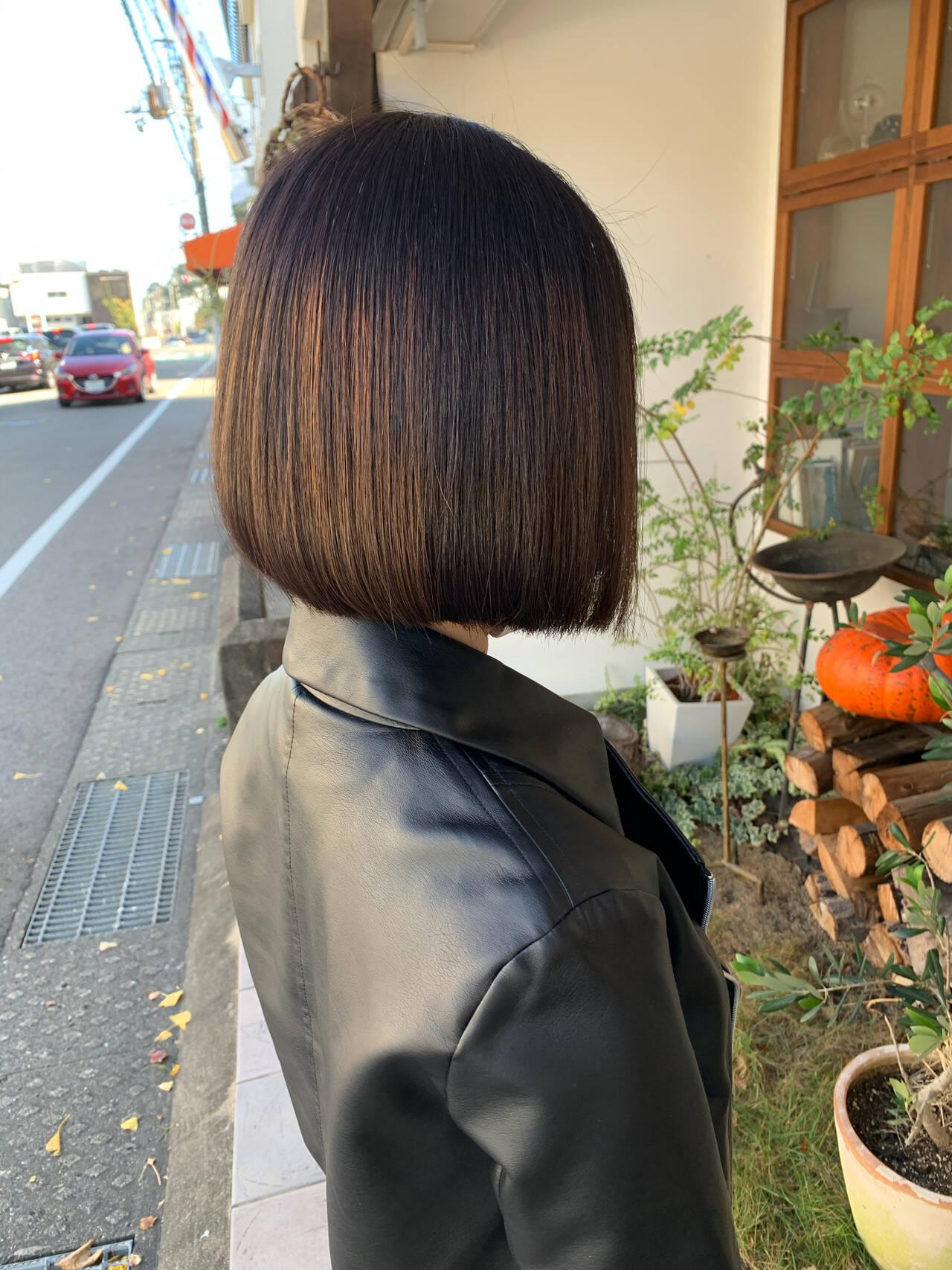 モード 切りっぱなしボブ ミニボブ ボブヘアスタイルや髪型の写真・画像