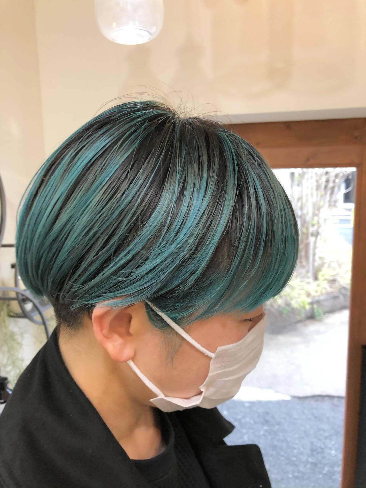ハイトーンカラー インナーカラー ハイライト ボブヘアスタイルや髪型の写真・画像