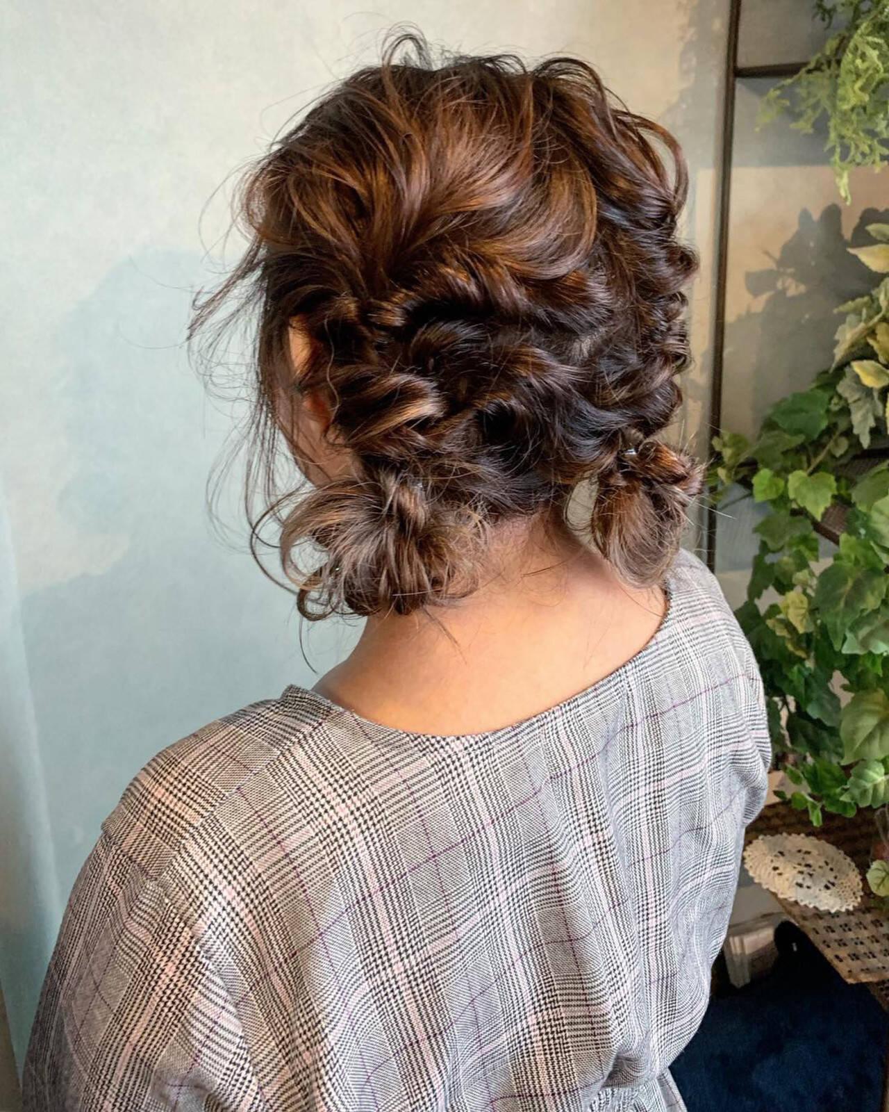 ヘアアレンジ ガーリー 簡単ヘアアレンジ ミディアムヘアスタイルや髪型の写真・画像