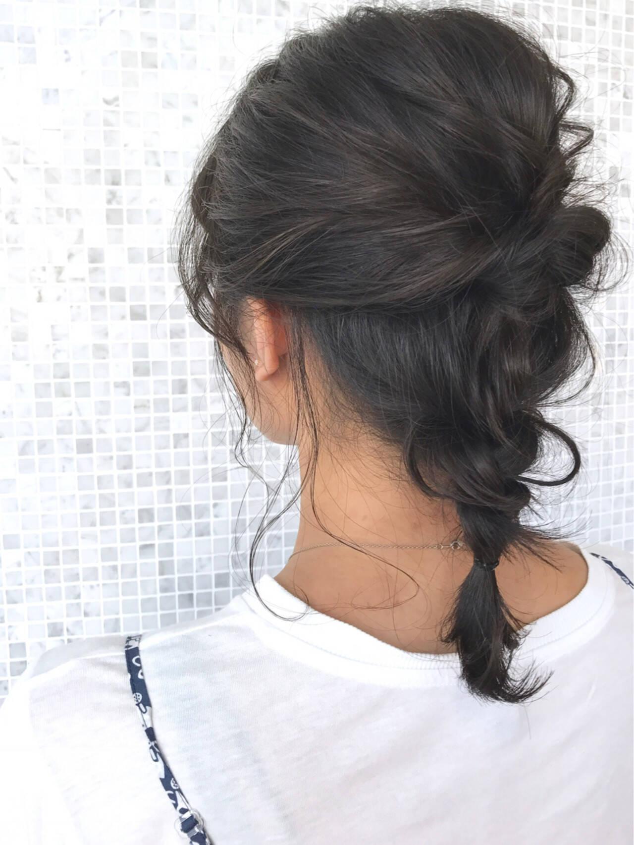 簡単ヘアアレンジ アッシュ デート ガーリーヘアスタイルや髪型の写真・画像