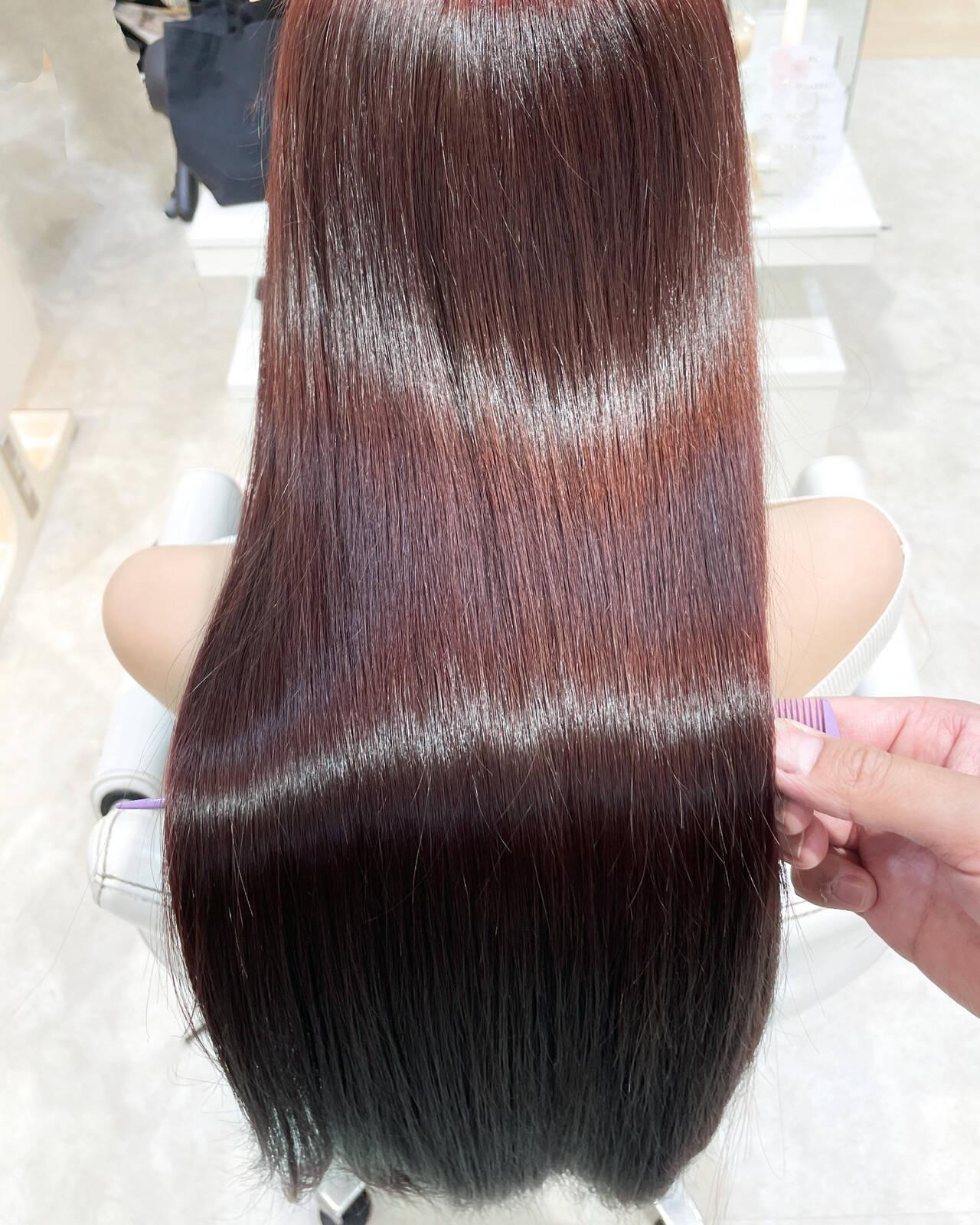 ロング 縮毛矯正 髪質改善トリートメント ナチュラルヘアスタイルや髪型の写真・画像