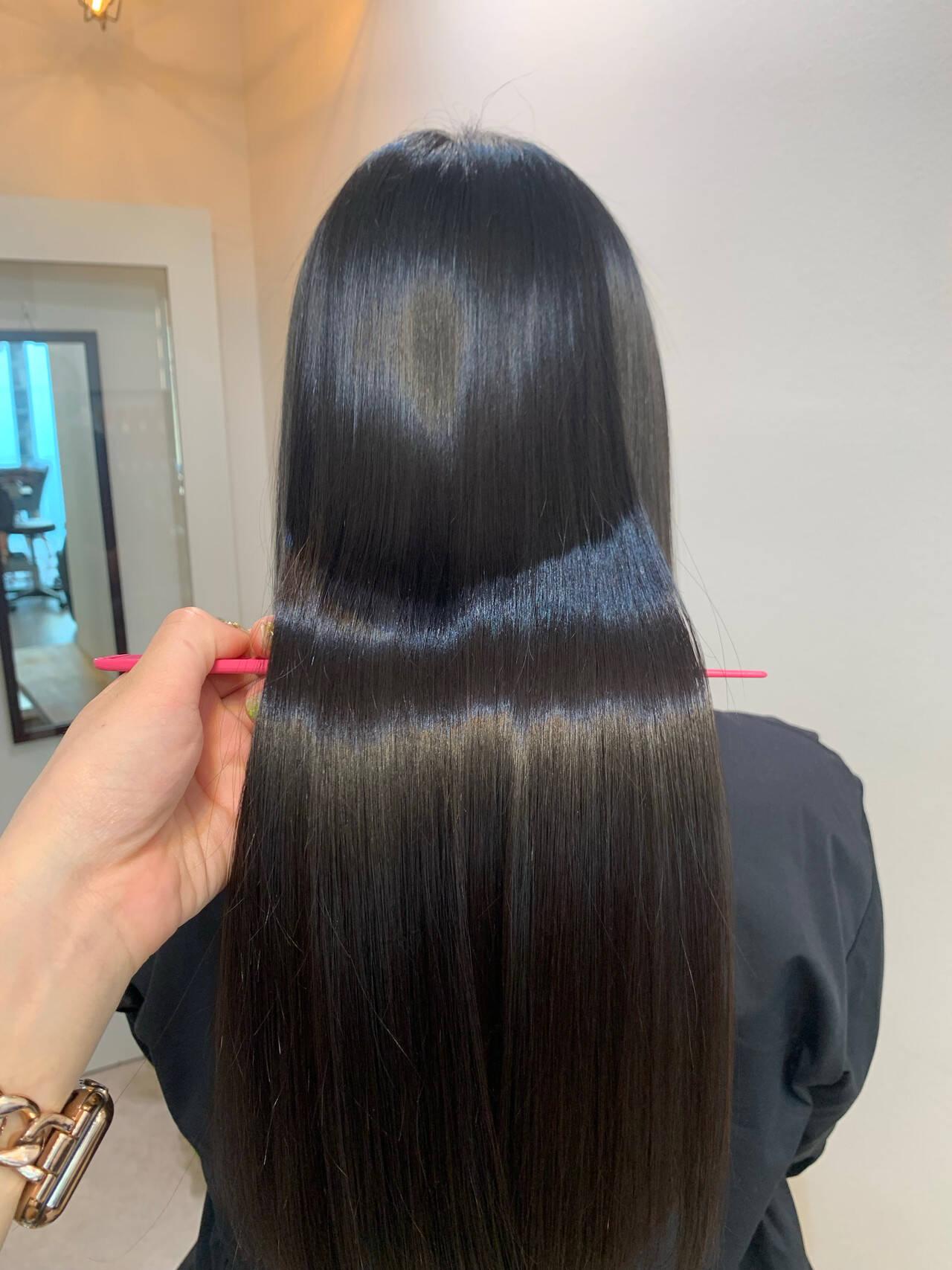 ロング ナチュラル 髪質改善カラー 大人かわいいヘアスタイルや髪型の写真・画像