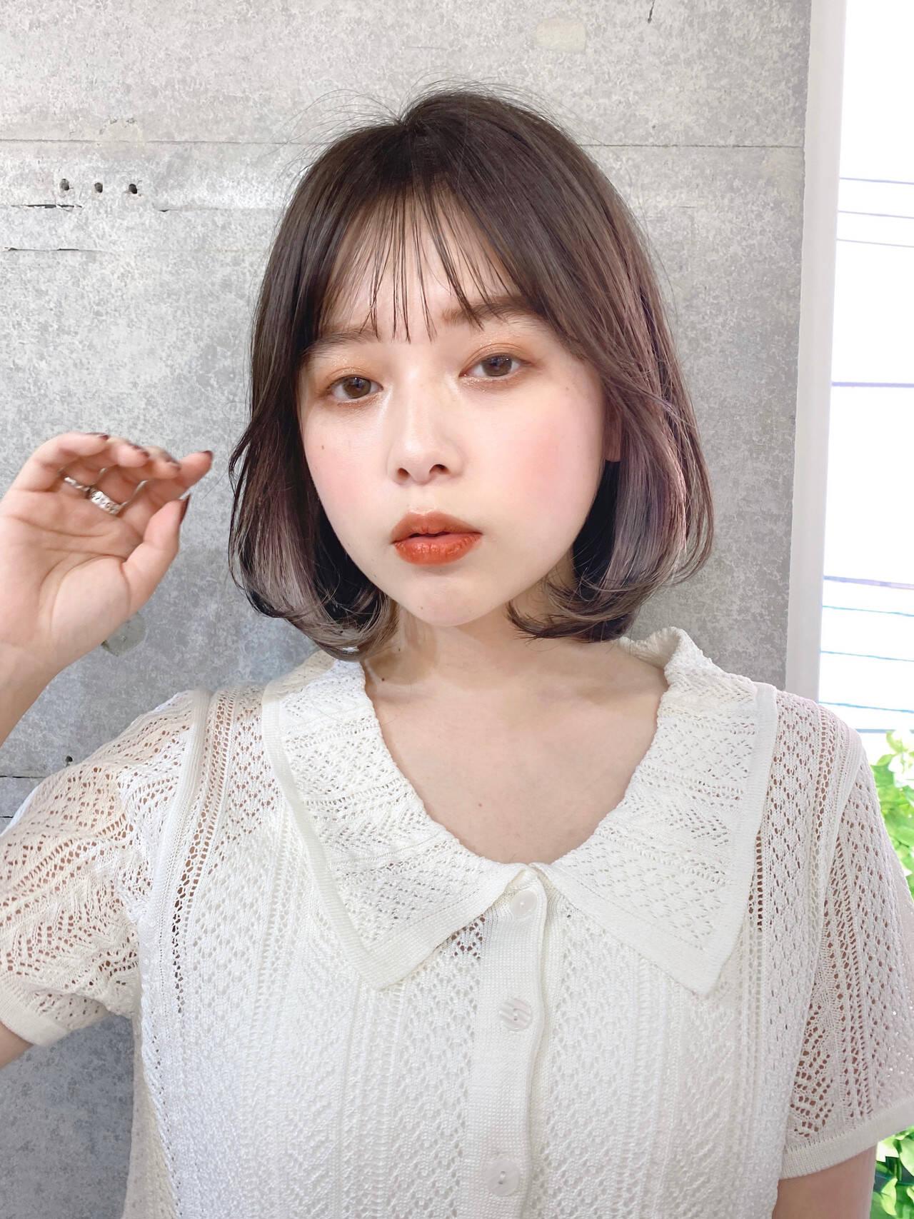 インナーカラー 内巻き レイヤーボブ 韓国ヘアヘアスタイルや髪型の写真・画像