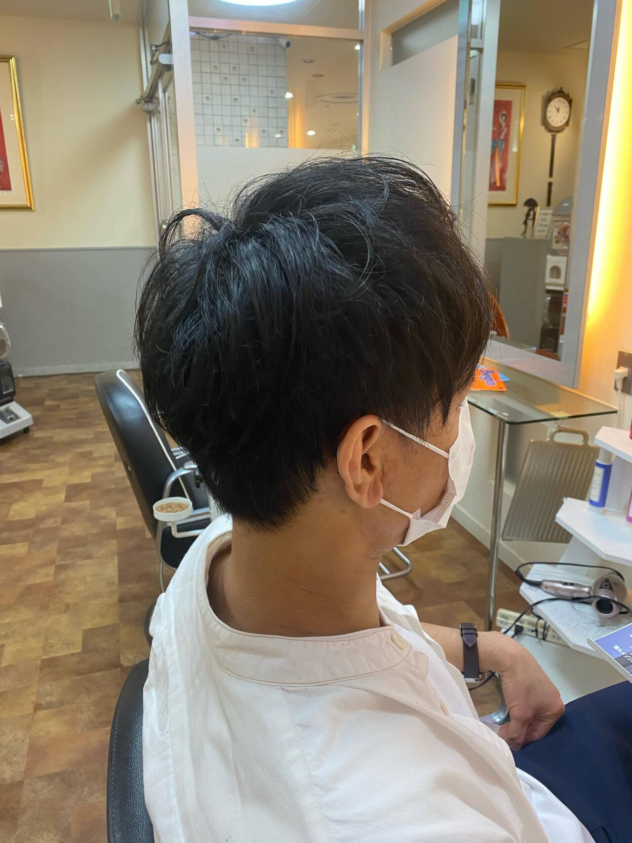 ショート メンズカット ナチュラル ツーブロックヘアスタイルや髪型の写真・画像