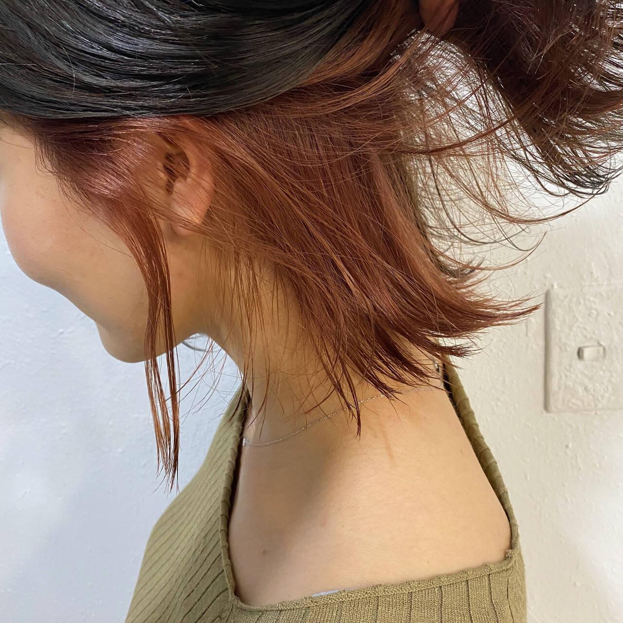 インナーカラー ピンク ブリーチ 透明感ヘアスタイルや髪型の写真・画像