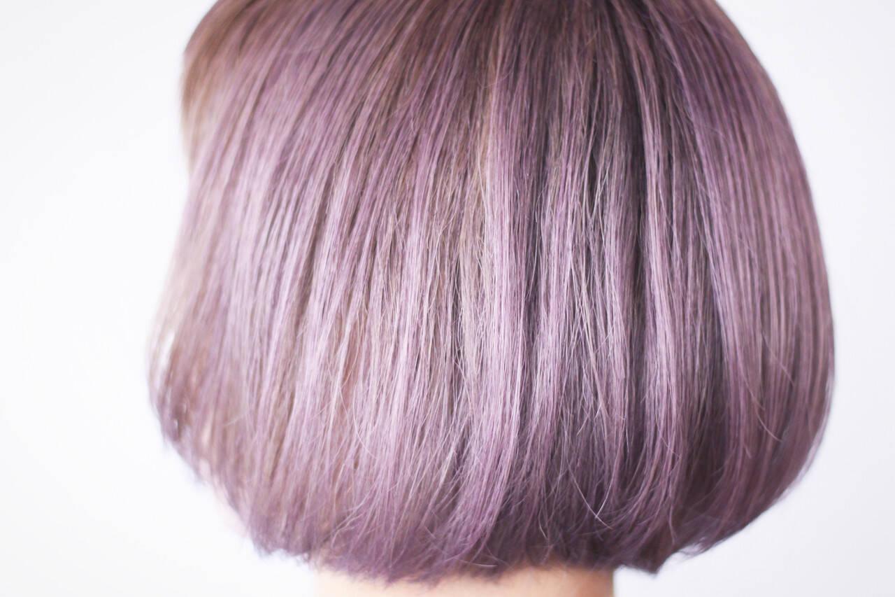 ボブ シアー ラベンダーアッシュ ラベンダーピンクヘアスタイルや髪型の写真・画像