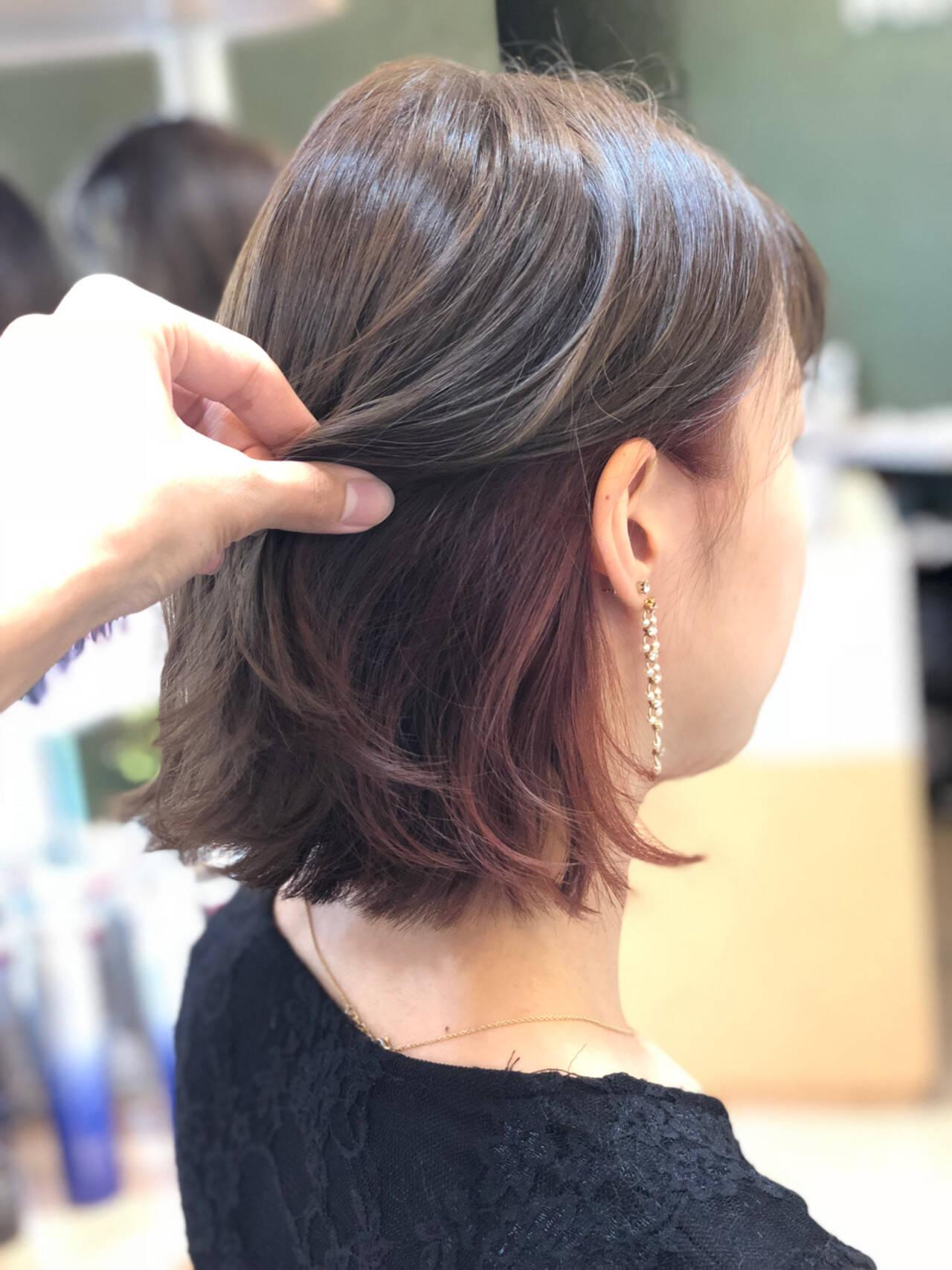 フェミニン ボブ ヘアアレンジ 透明感ヘアスタイルや髪型の写真・画像