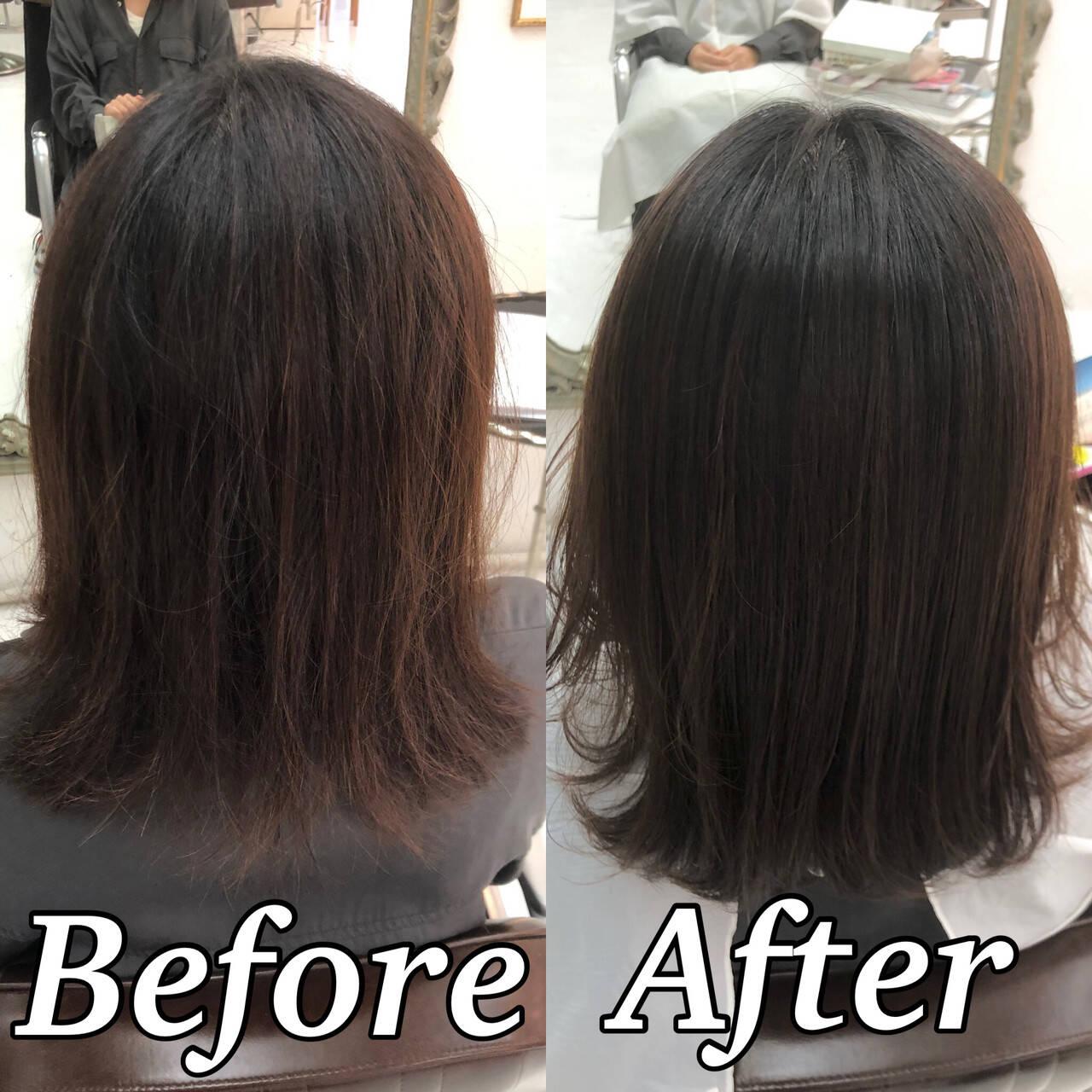 髪質改善 髪質改善トリートメント ツヤ髪 ナチュラルヘアスタイルや髪型の写真・画像