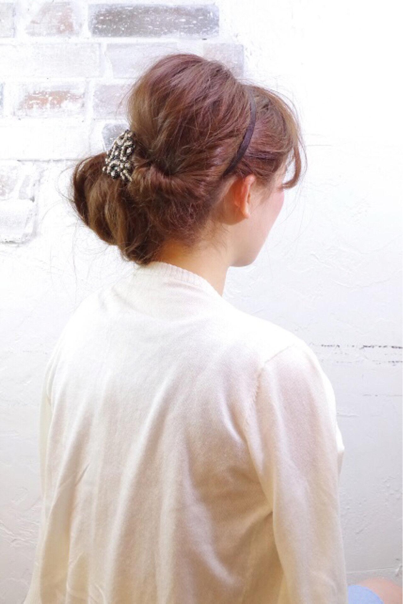 簡単ヘアアレンジ ロング ショート ゆるふわヘアスタイルや髪型の写真・画像