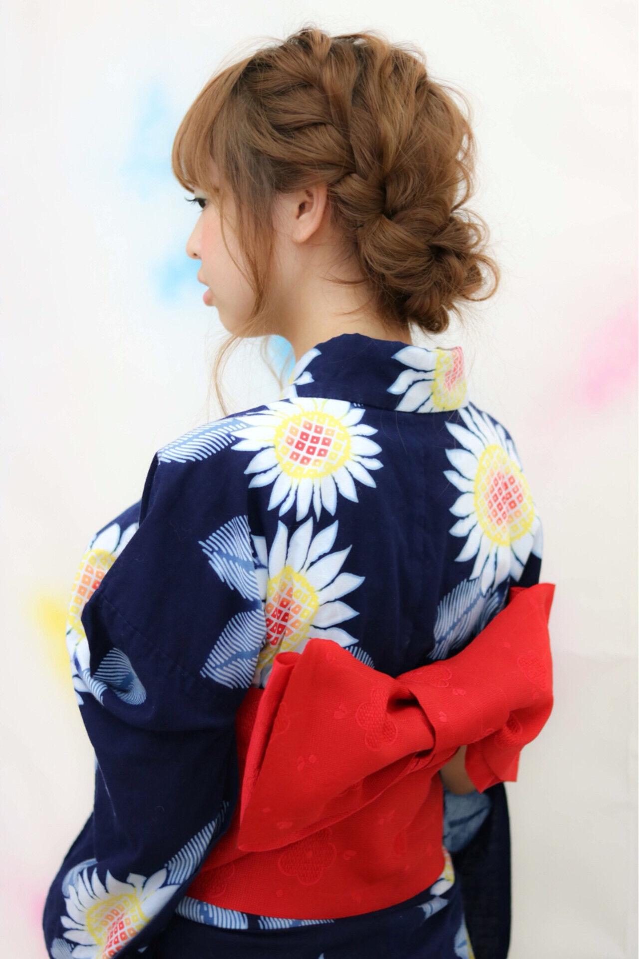 お祭り 花火大会 編み込み ロングヘアスタイルや髪型の写真・画像