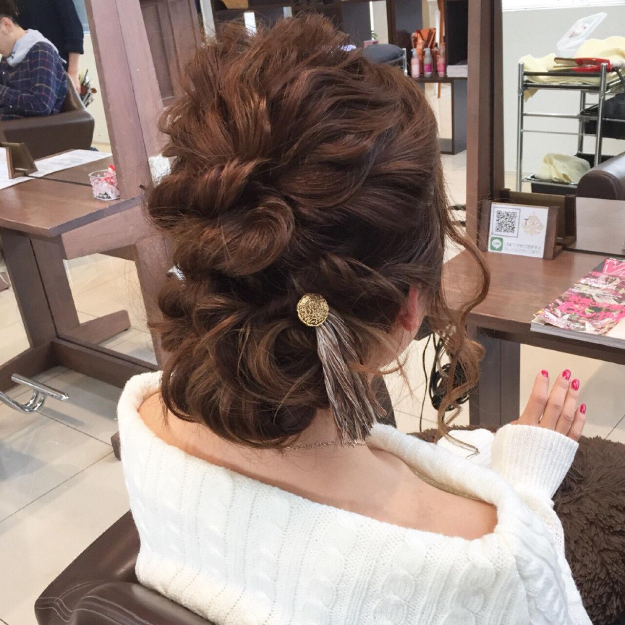 編み込み 結婚式 ロング ヘアアレンジヘアスタイルや髪型の写真・画像