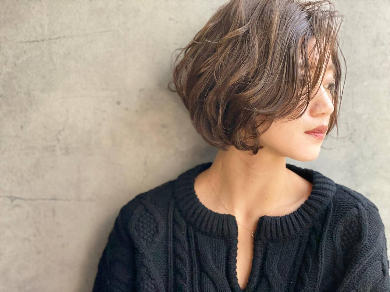 大人かわいい ショートボブ 艶髪 ヘアメイクヘアスタイルや髪型の写真・画像