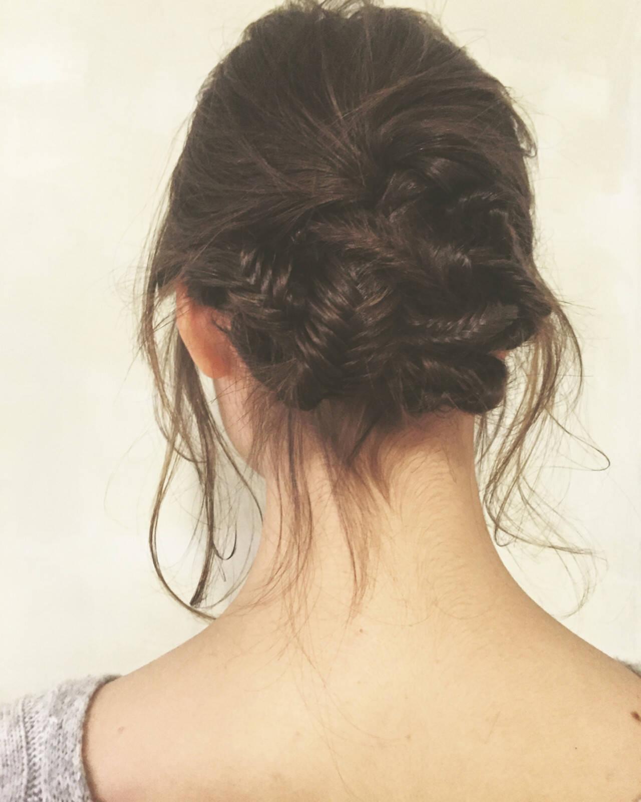アッシュ 暗髪 ミディアム ヘアアレンジヘアスタイルや髪型の写真・画像