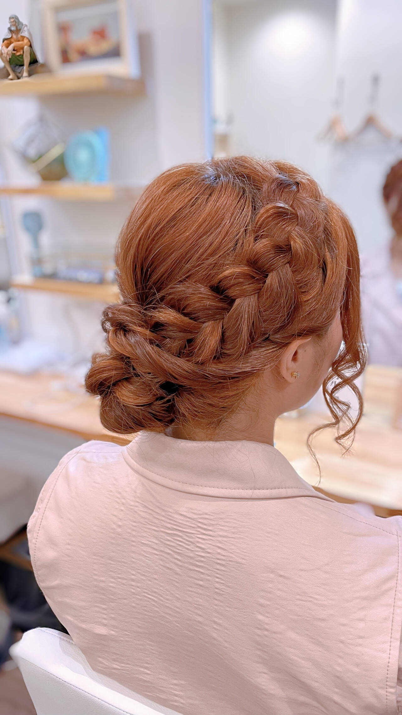 編み込み 編み込みヘア セミロング 簡単ヘアアレンジヘアスタイルや髪型の写真・画像