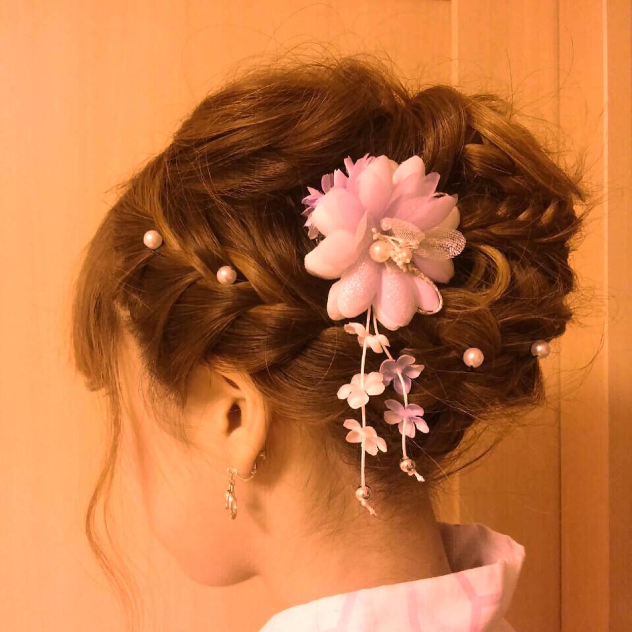 ラフ 編み込み ヘアアレンジ 和装ヘアスタイルや髪型の写真・画像