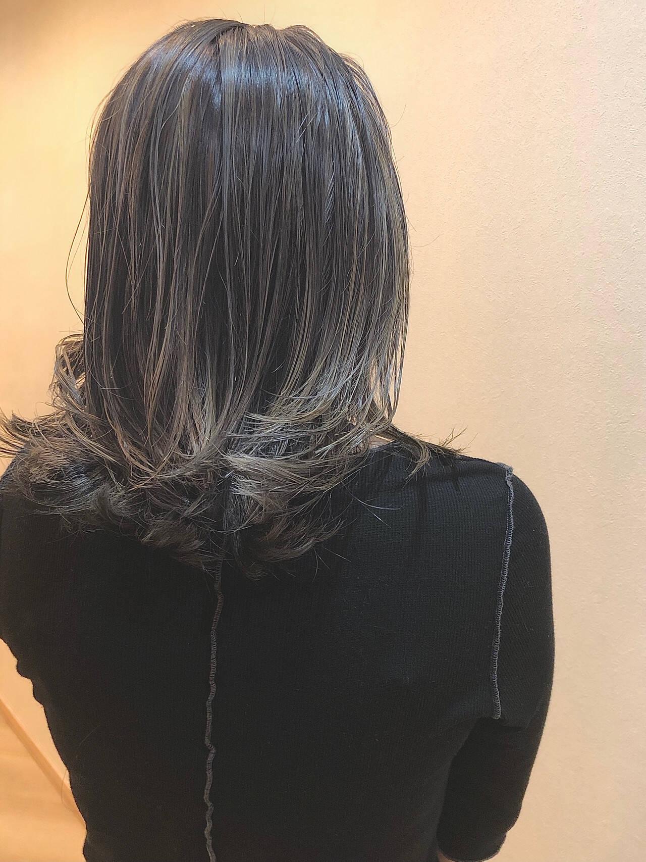 ブリーチ 外国人風 バレイヤージュ 外国人風カラーヘアスタイルや髪型の写真・画像