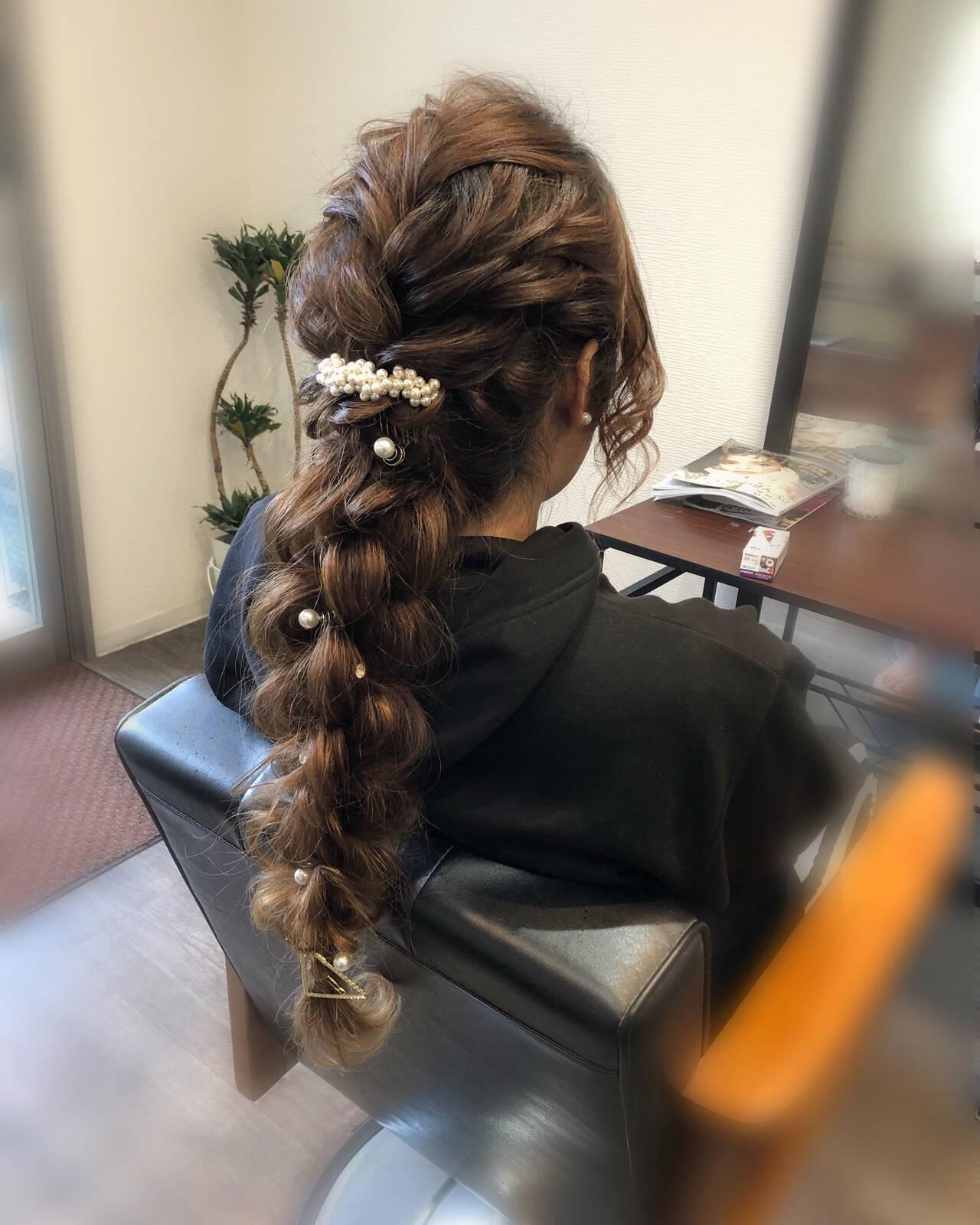 フェミニン ヘアアレンジ ロング 成人式ヘアヘアスタイルや髪型の写真・画像