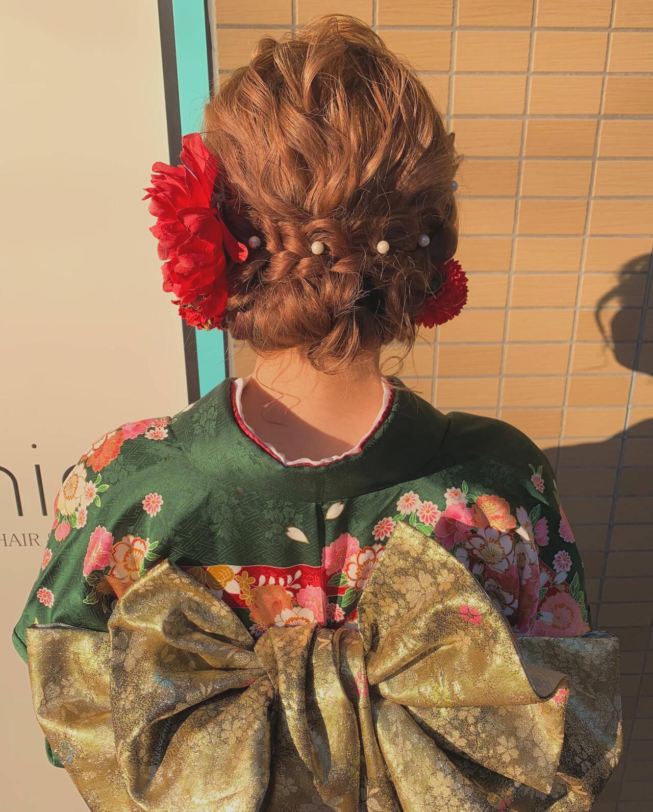 成人式カラー ガーリー ロング 成人式ヘアメイク着付けヘアスタイルや髪型の写真・画像