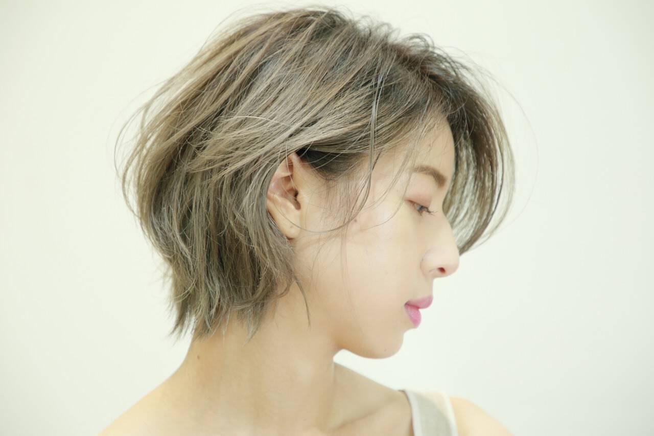 ショートヘア ショート 髪質改善カラー 極細ハイライトヘアスタイルや髪型の写真・画像
