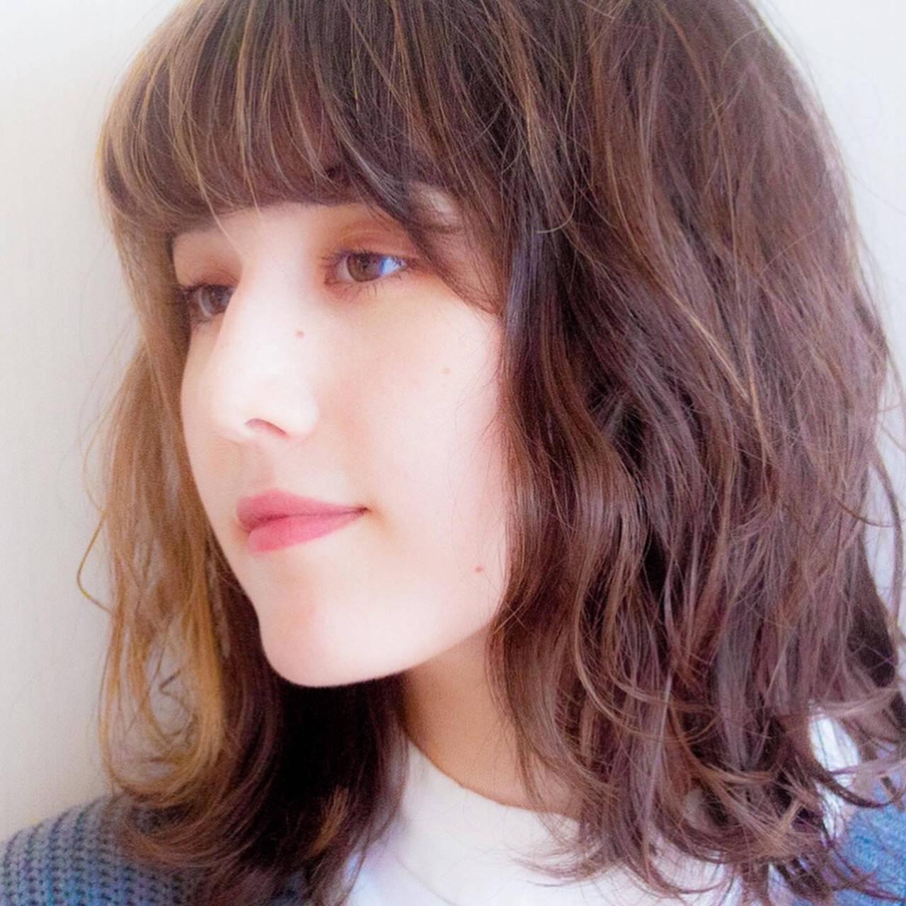 デジタルパーマ ミディアム ゆるふわパーマ 無造作ミックスヘアスタイルや髪型の写真・画像